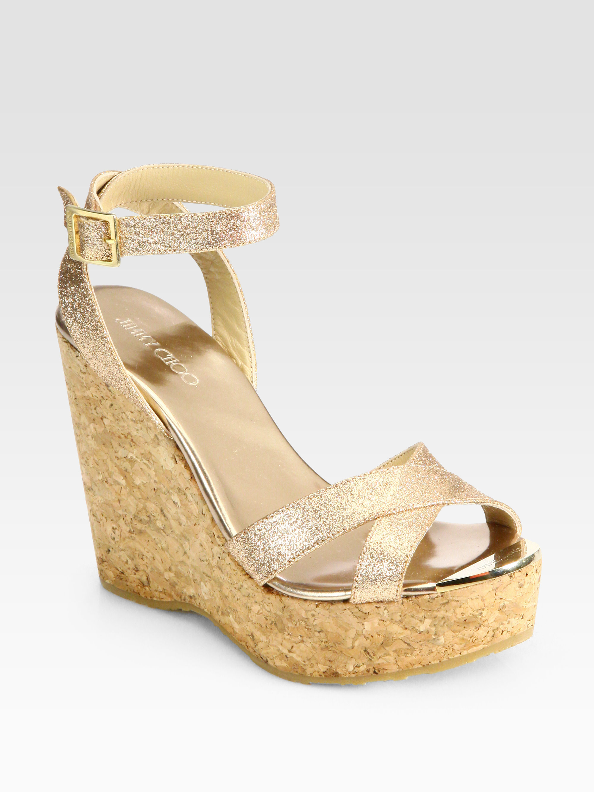 Jimmy Choo Papyrus Glitter Cork Wedge Sandals In Gold
