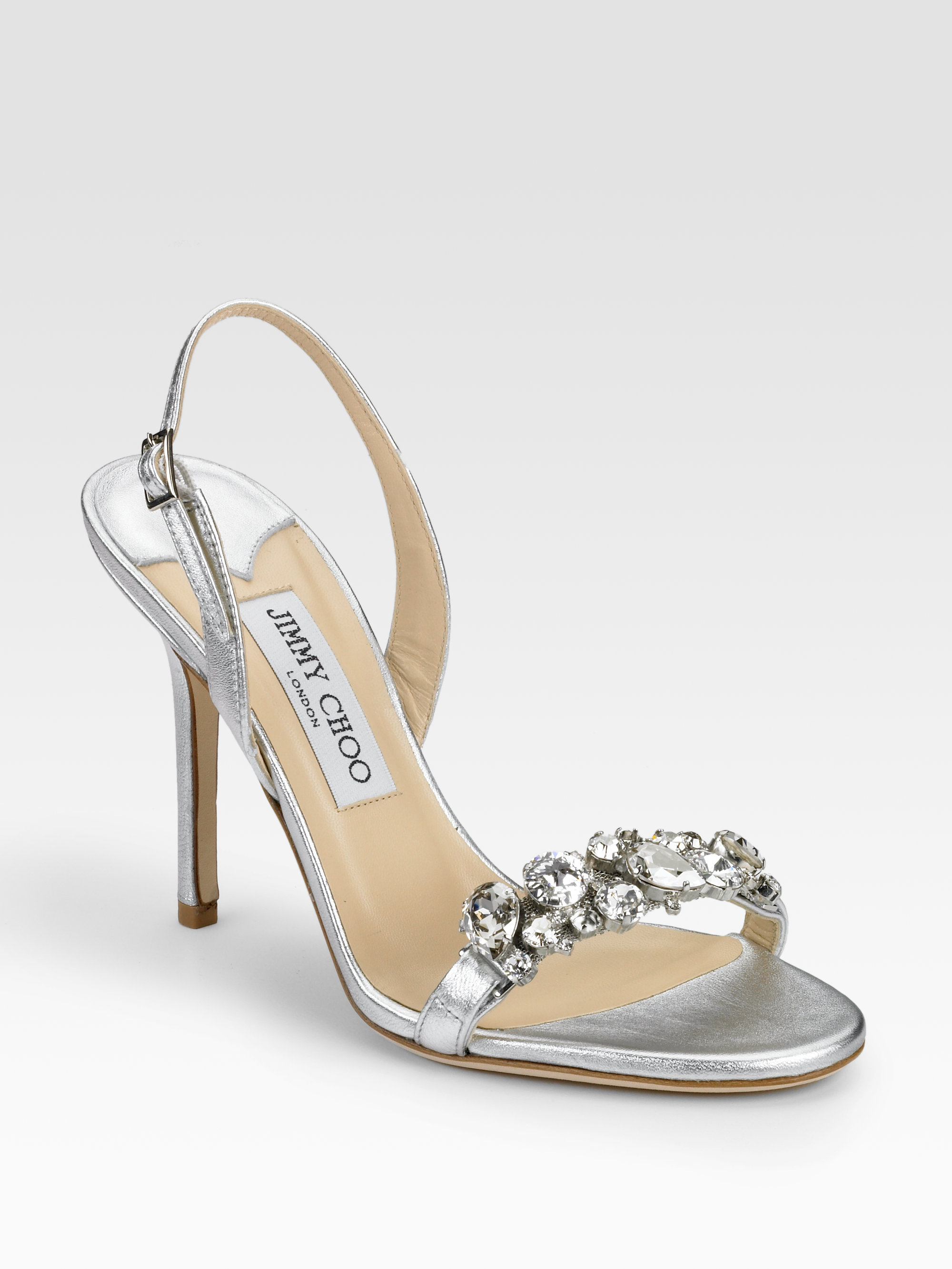 fa9303939b0b Lyst - Jimmy Choo Lotus Metallic Leather Crystal-detail Sandals in ...