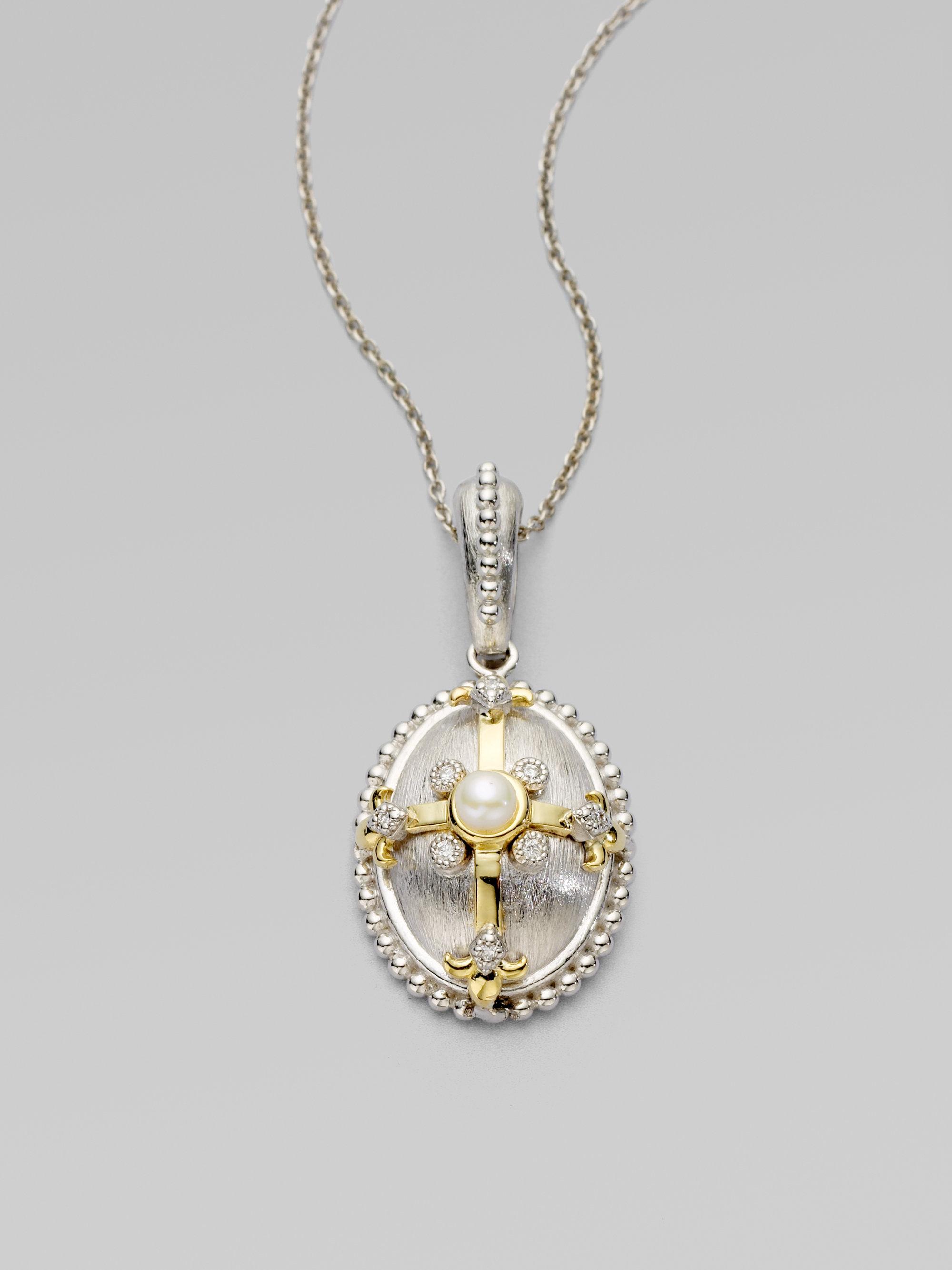 Jude frances Diamond Pearl 18k Gold Sterling Silver Oval Cross