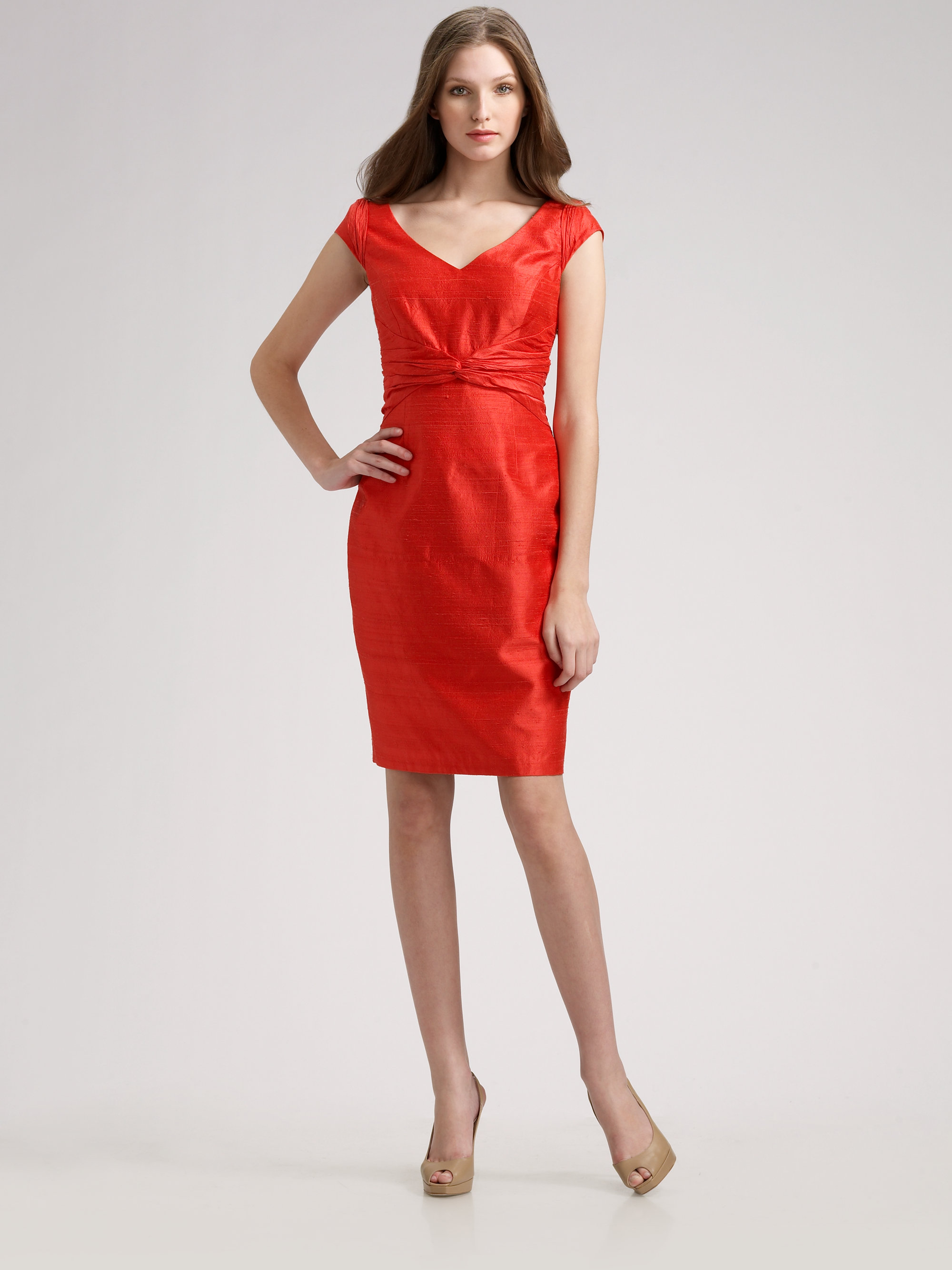 Lyst - Kay Unger Silk Dupioni Dress in Red