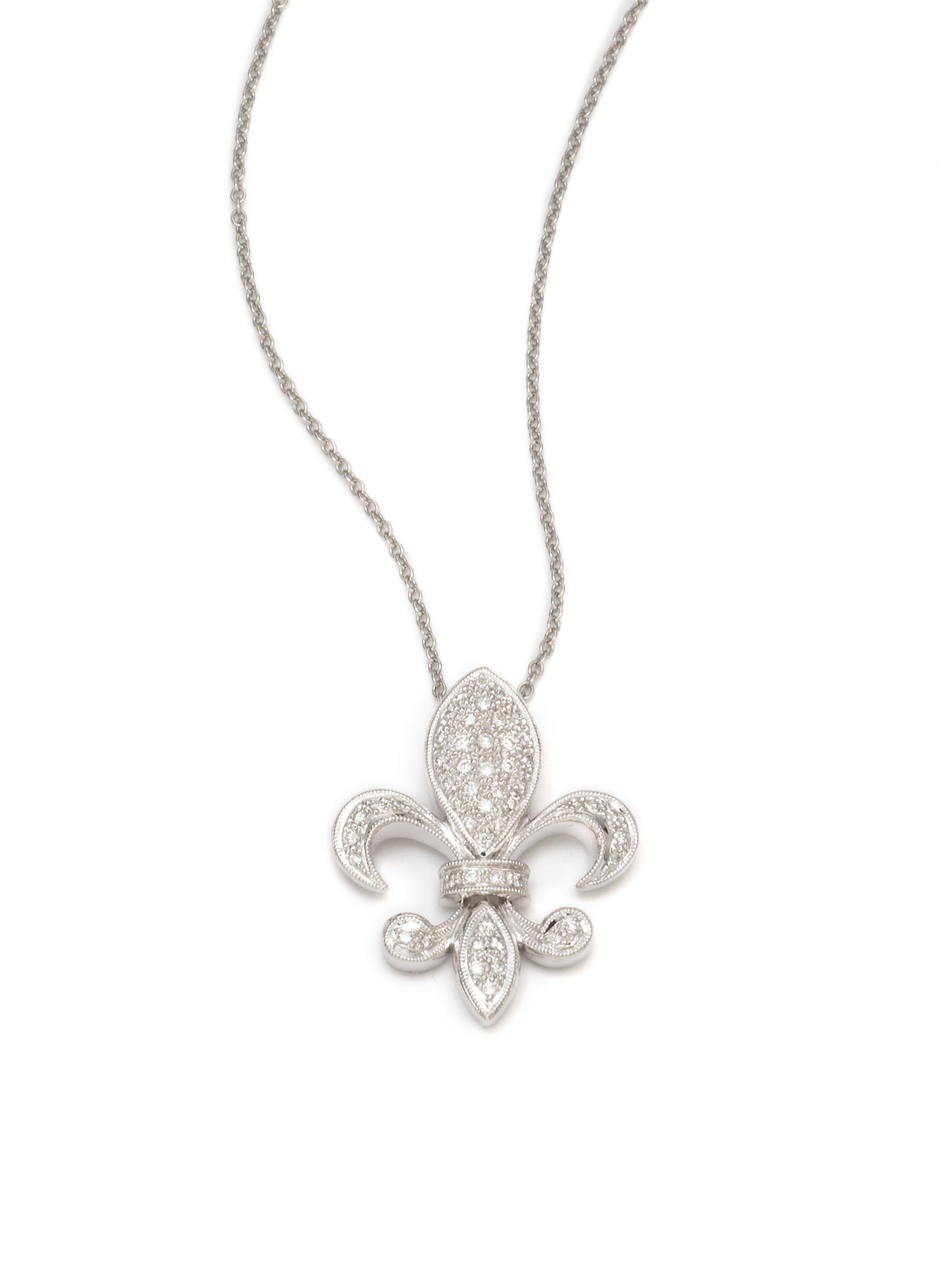 Lyst kc designs diamond fleur de lis pendant necklace in metallic gallery aloadofball Choice Image