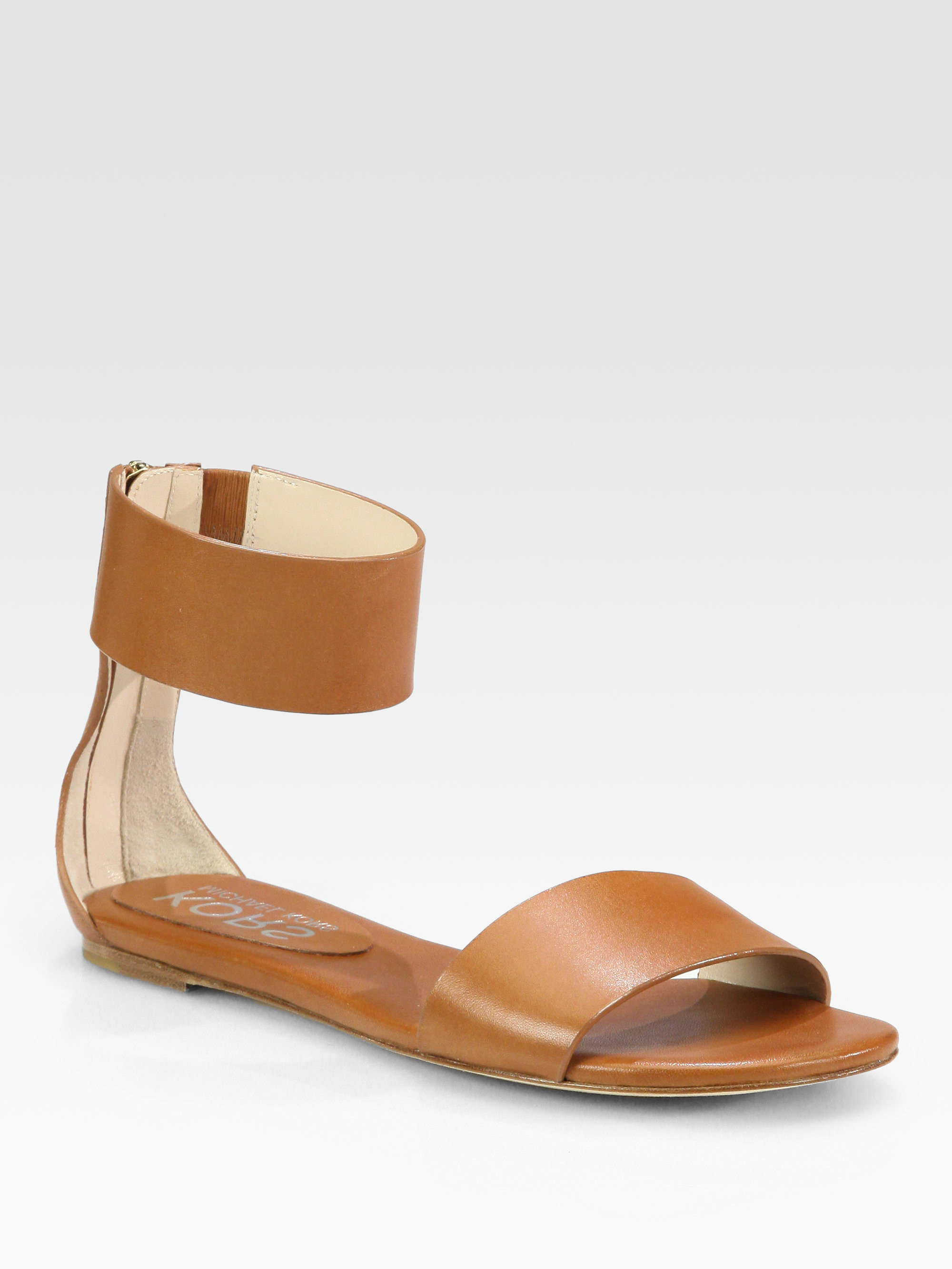 Lyst - Kors by Michael Kors Ava Leather Ankle Strap Sandals in Brown