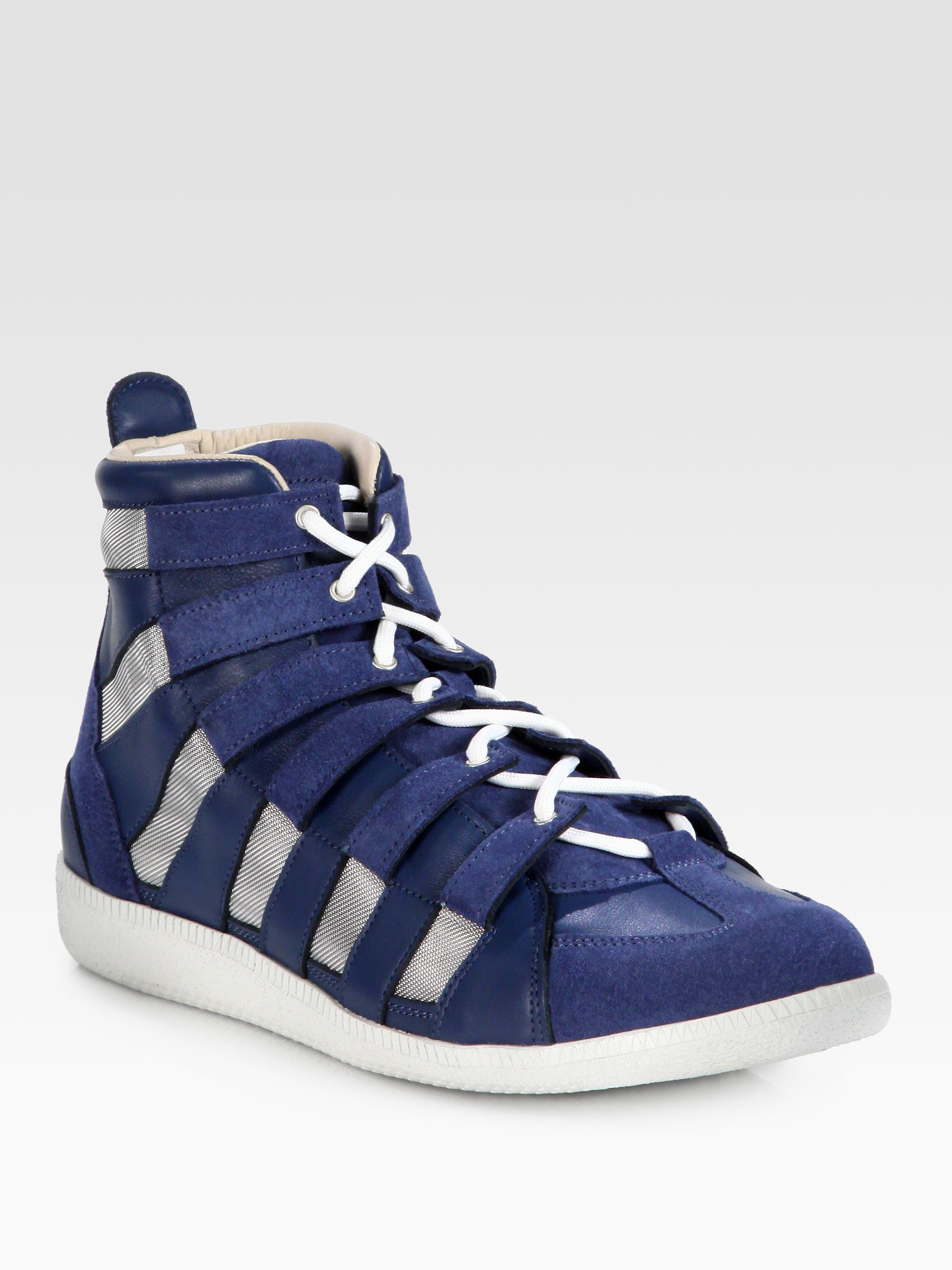 maison martin margiela leather and suede hightop sneakers in blue for men lyst. Black Bedroom Furniture Sets. Home Design Ideas