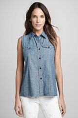 Marc By Marc Jacobs Corey Sleeveless Chambray Shirt - Lyst