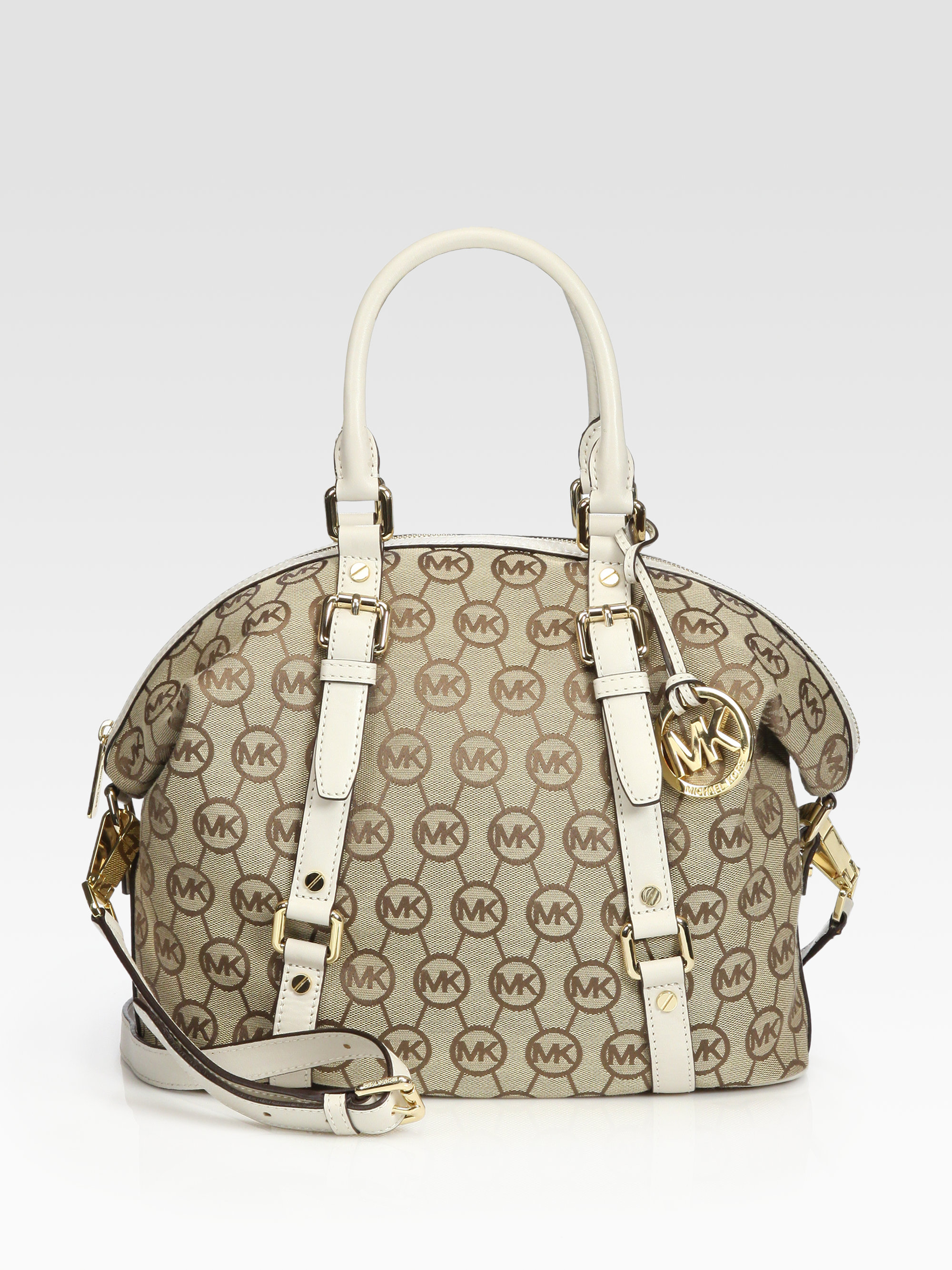 6b4d3805db8e8 Lyst - MICHAEL Michael Kors Bedford Medium Jacquard Satchel in Natural