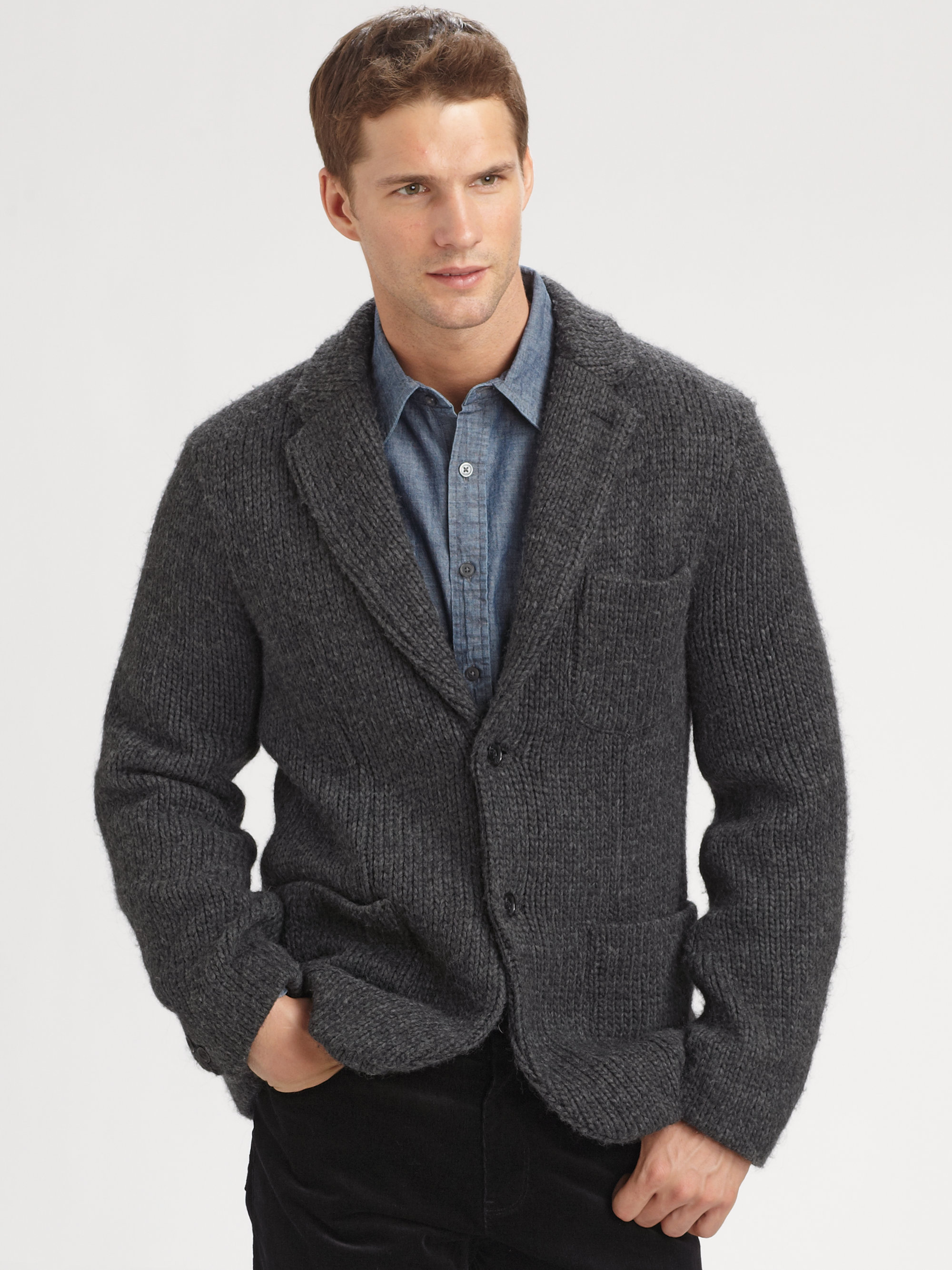 Michael Kors Chunky Knit Blazer in Gray for Men (charcoal ...
