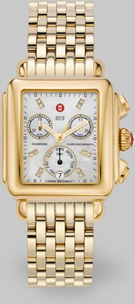 michele deco day goldplated chronograph bracelet