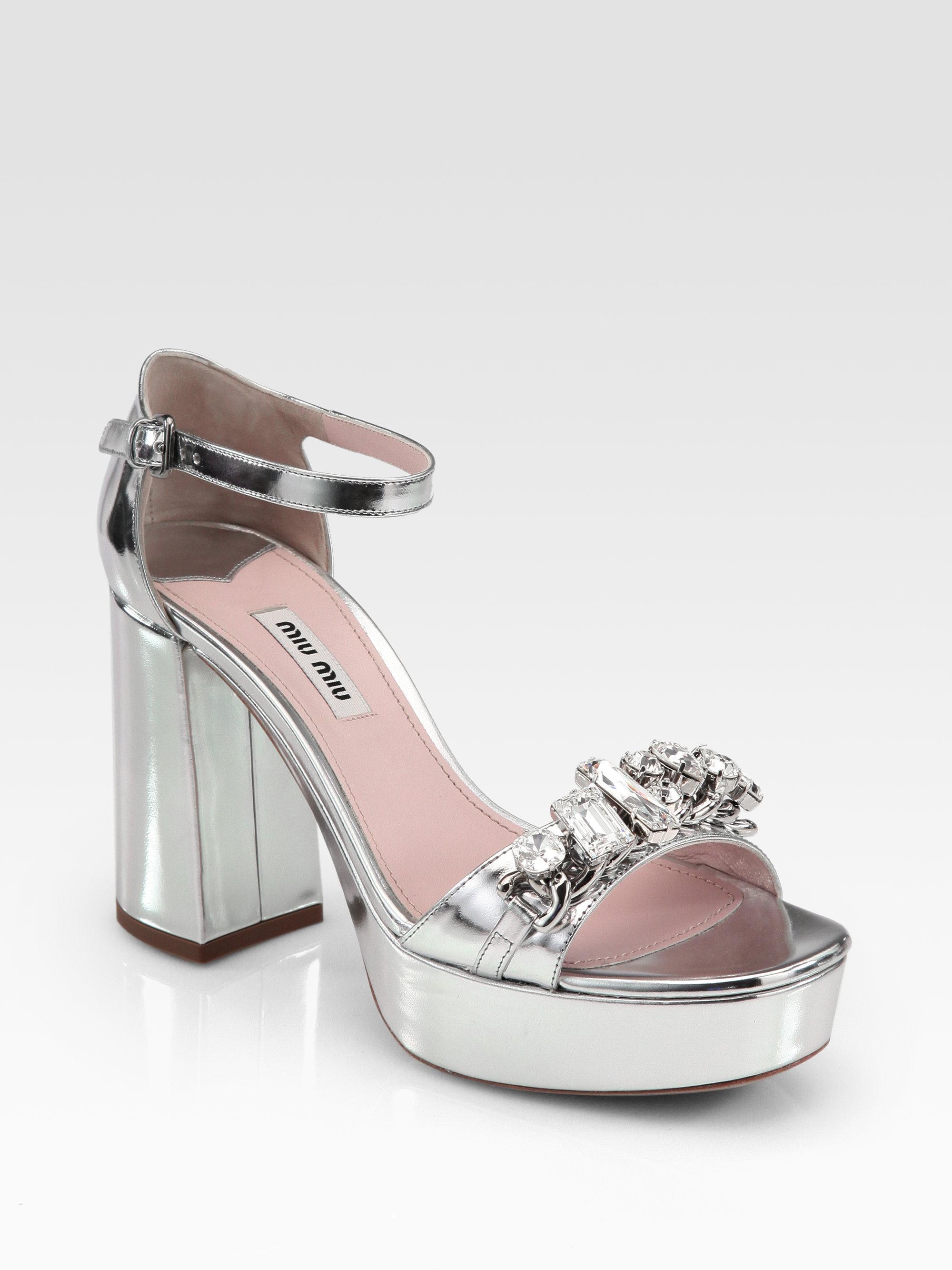 a6f0b0b6c Lyst - Miu Miu Metallic Leather Jeweled Platform Sandals in Gray