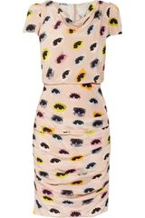 Moschino Cheap & Chic Eyeprint Draped Silk Dress - Lyst