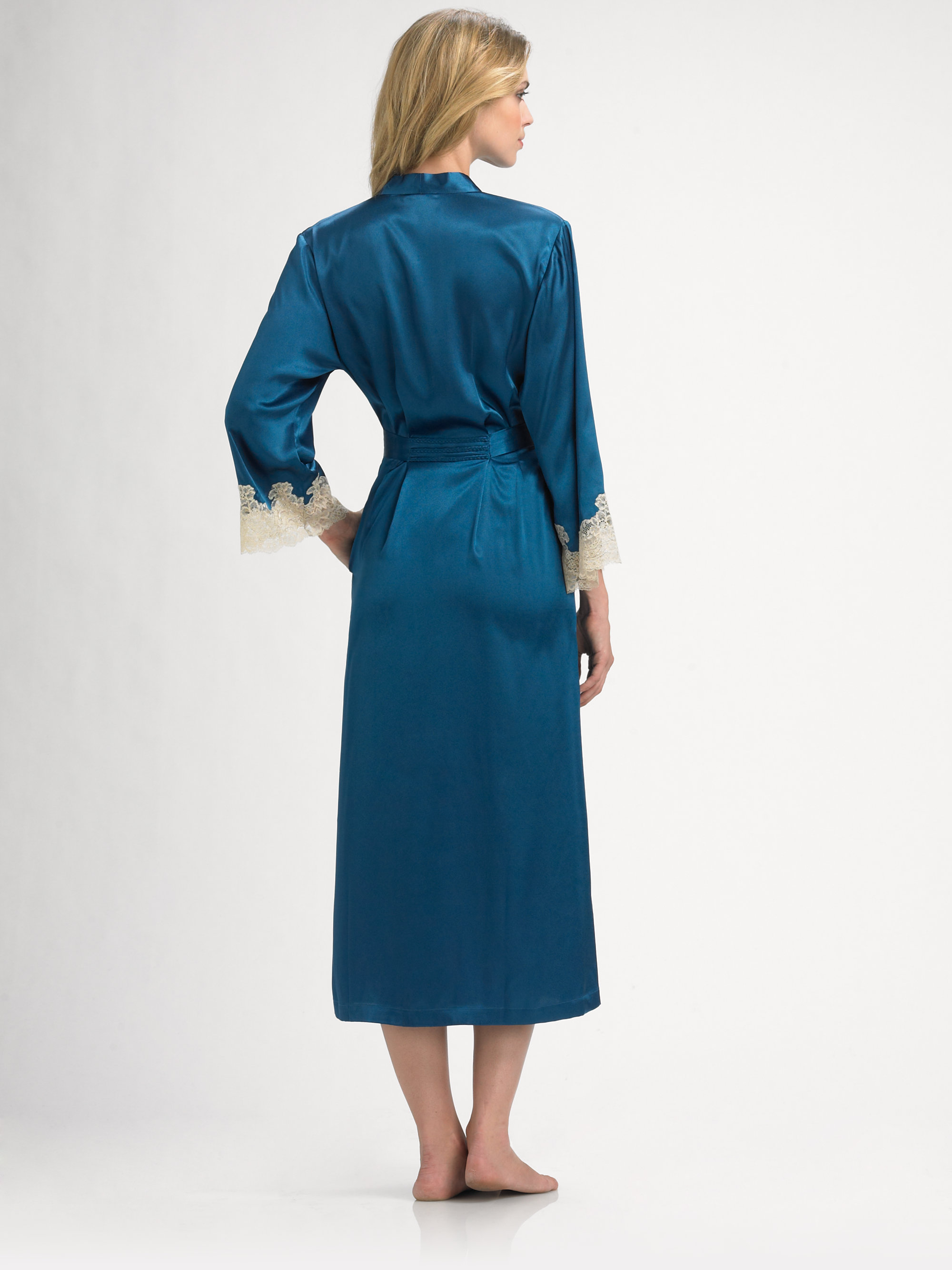 9ca4ff8796 Lyst - Oscar de la Renta Satin Antique Long Robe in Blue
