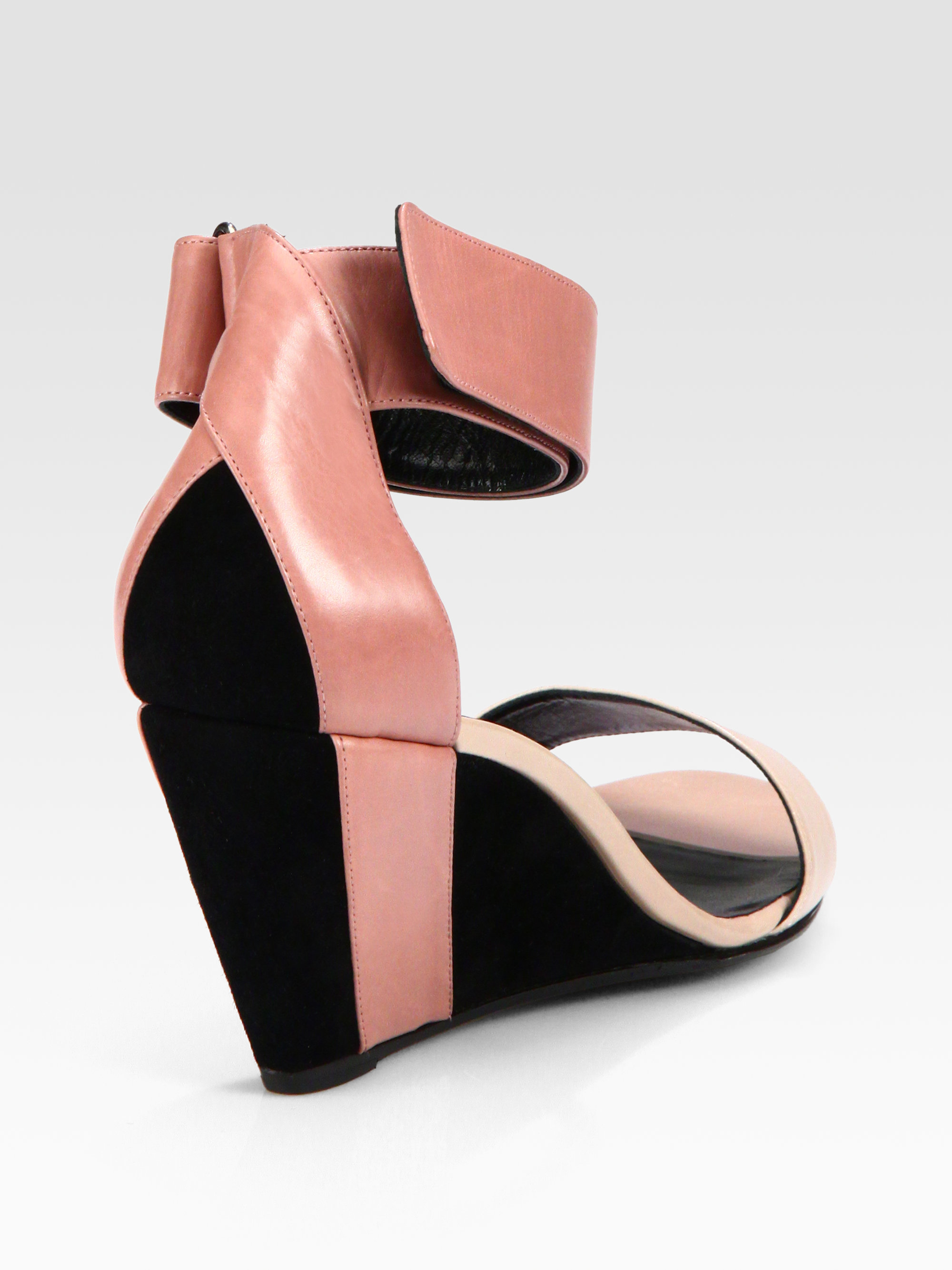 5e8f67c6862b Lyst - Pierre Hardy Leather Suede Ankle Strap Wedge Sandals in Pink
