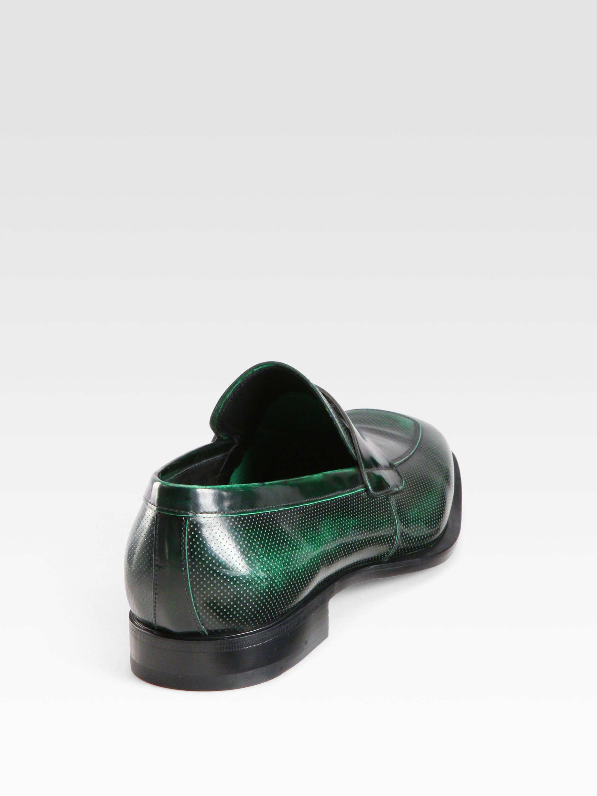 Lyst Prada Spazzolato Penny Loafers In Green For Men