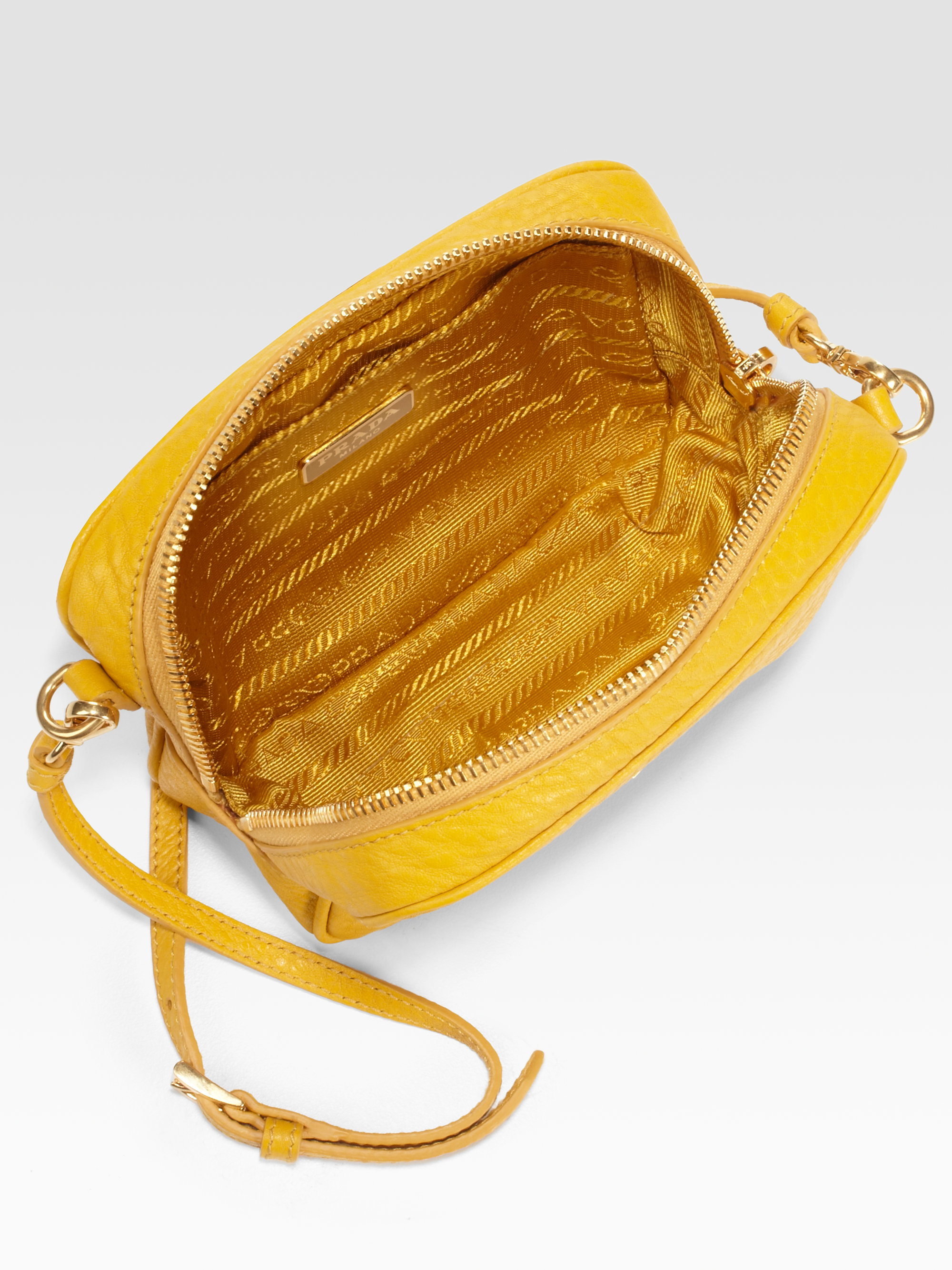 Prada Mini Vitello Daino Crossbody Bag in Yellow (mimosa) | Lyst