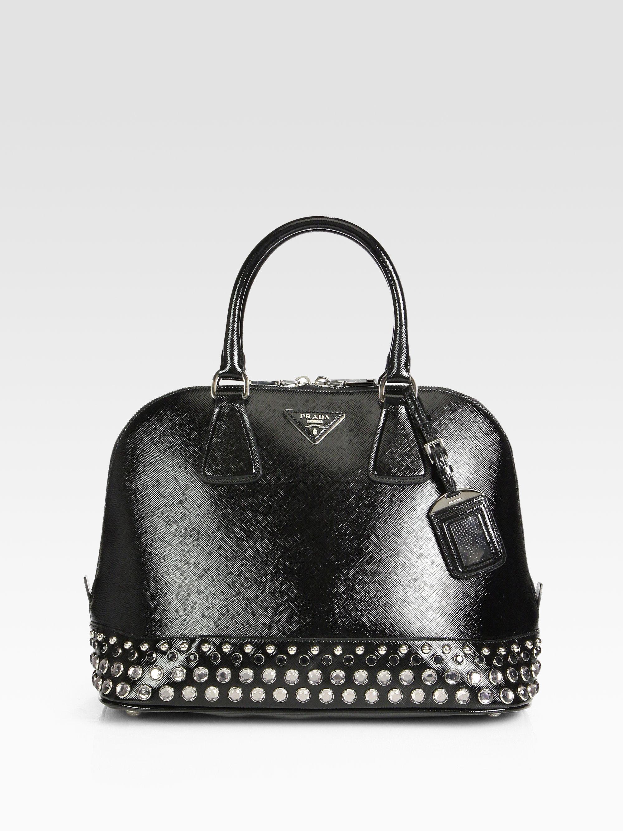 prada billfold wallet - Prada Saffiano Vernice Embellished Medium Promenade Top Handle Bag ...