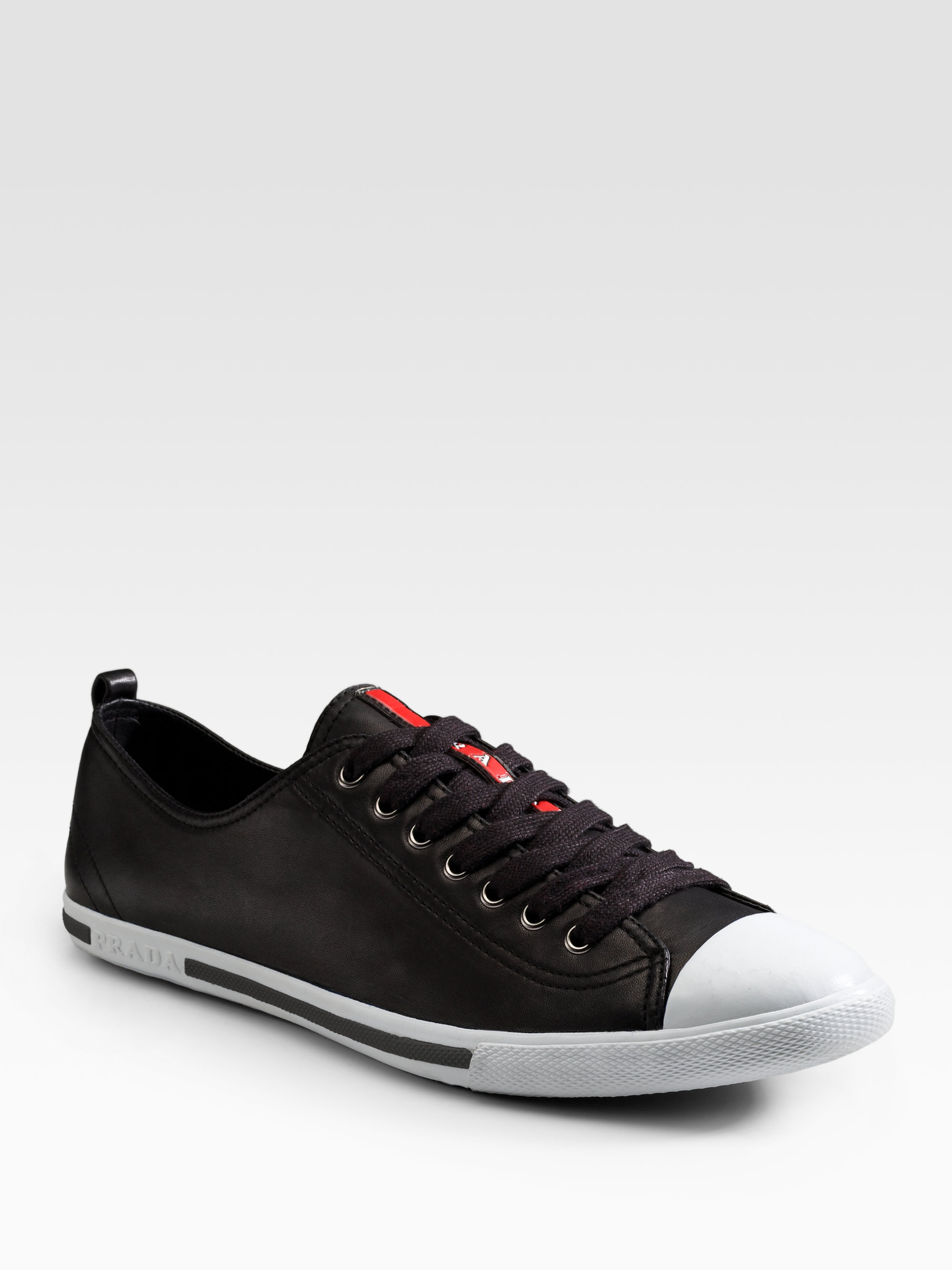 f07acf36fa Prada Nappa Leather Sneakers in Black for Men - Lyst