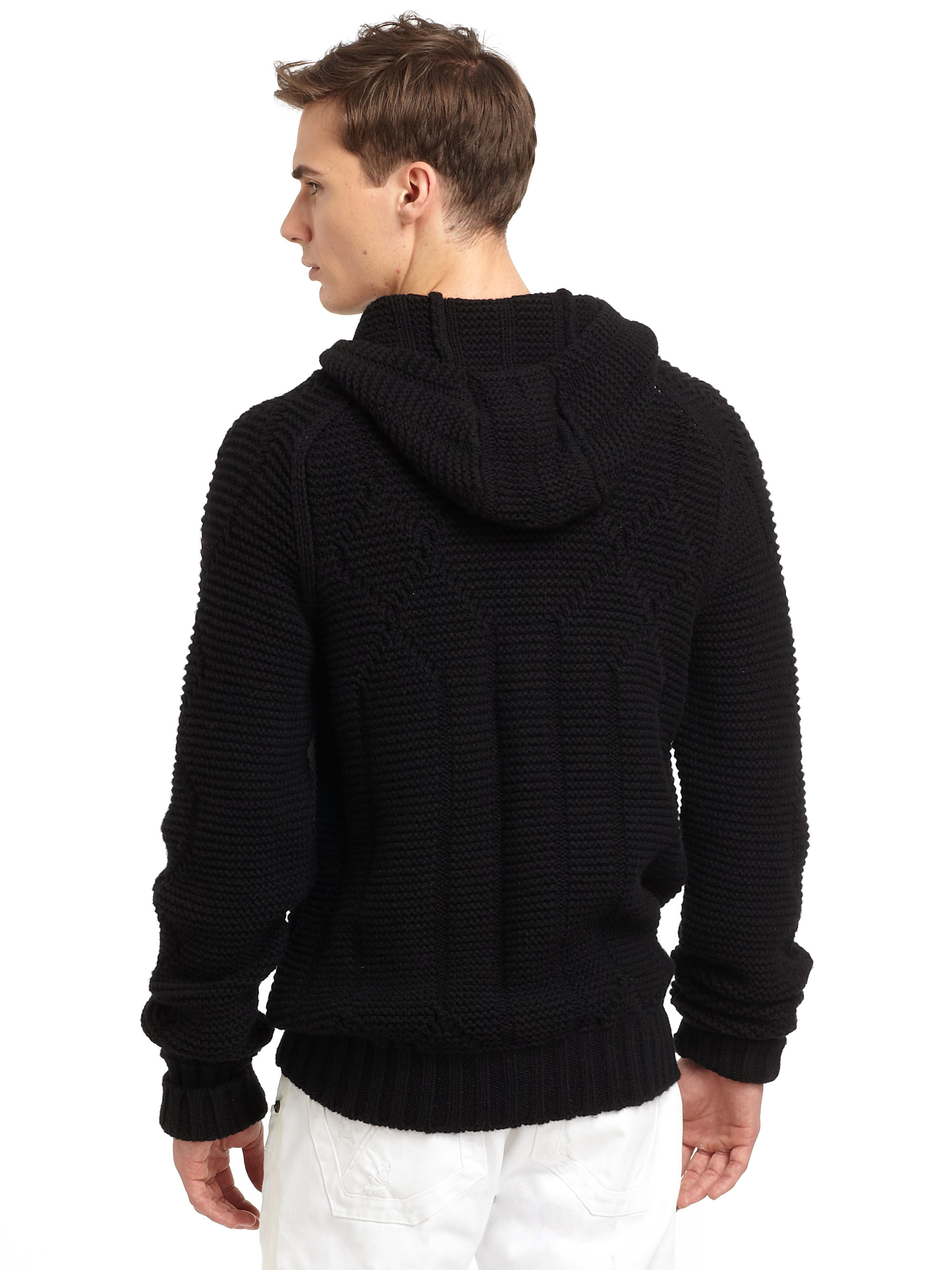 Roberto cavalli Cashmere Wool Knit Zip Hoodie in Black for Men | Lyst