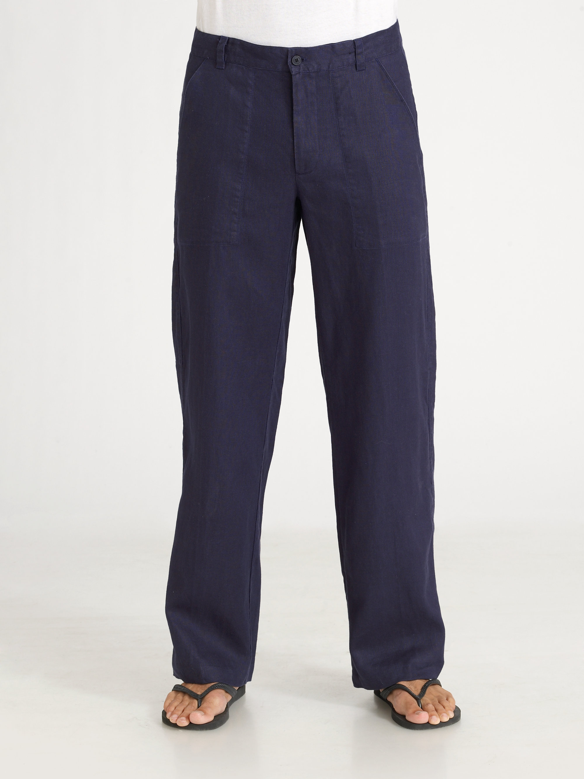 Saks fifth avenue Linen Pants in Blue for Men | Lyst