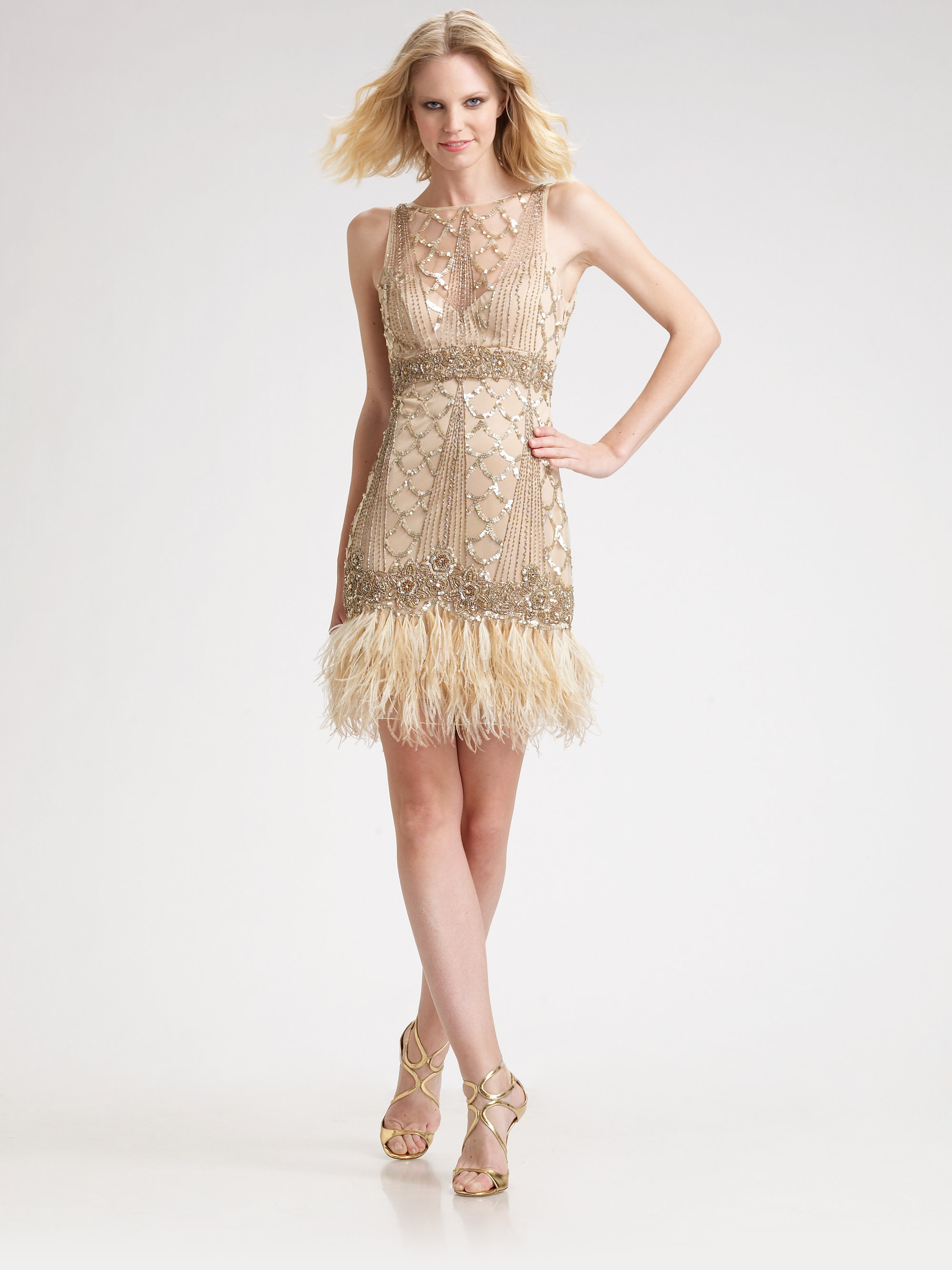 Sue Wong Sequined Feather Hem Dress In Pink Lyst