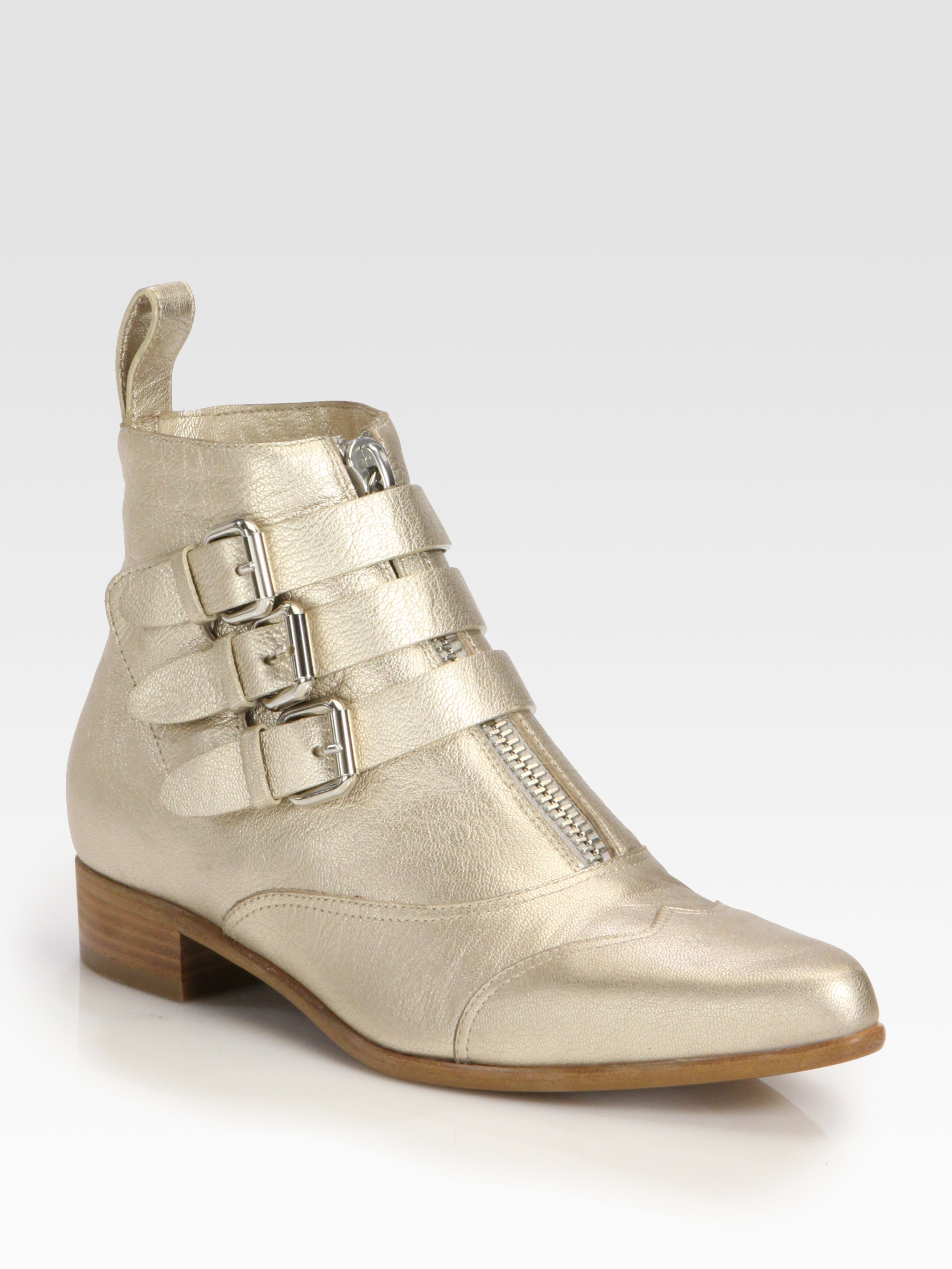 simmons early metallic leather ankle boots in gold