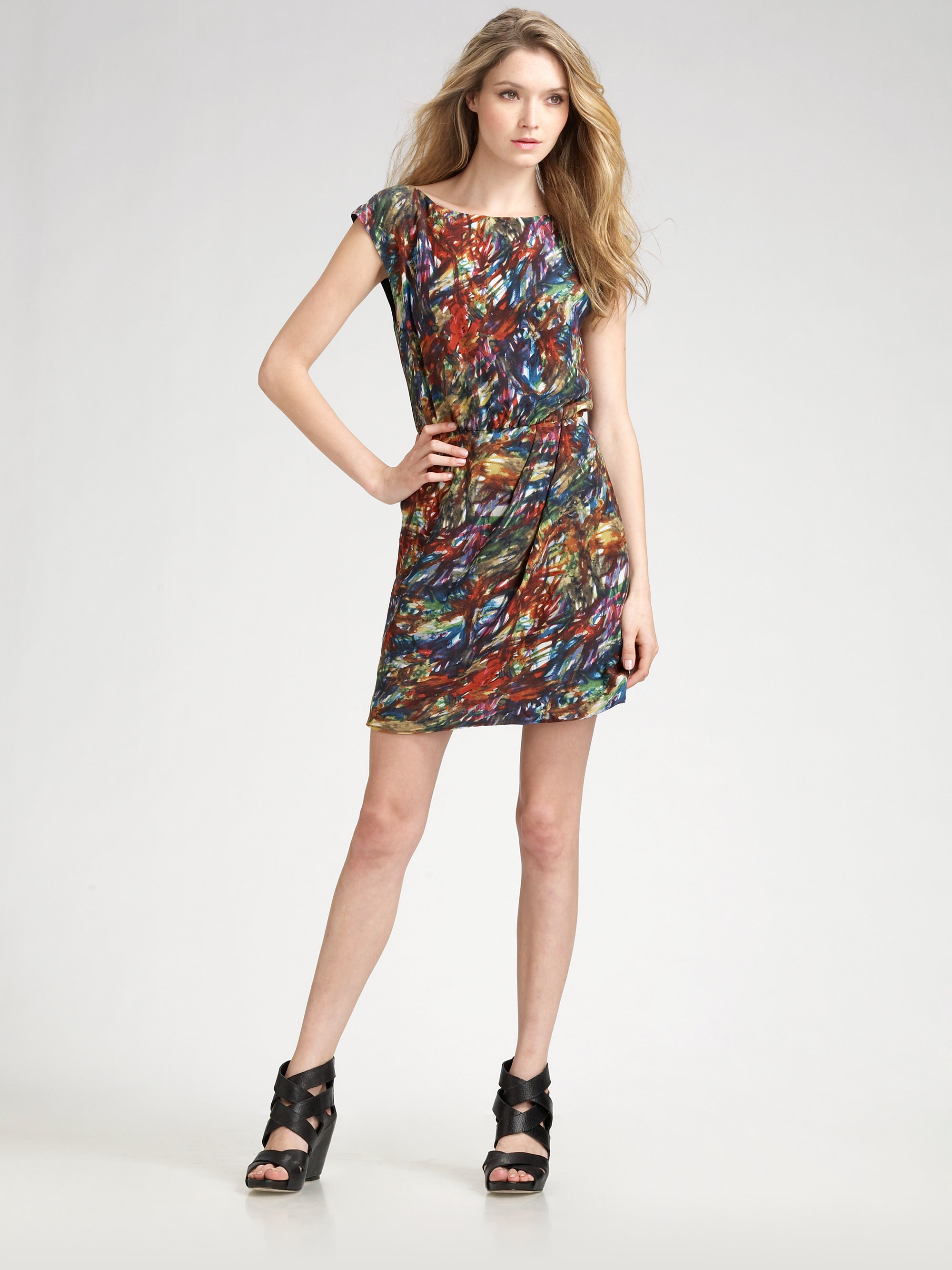Lyst Theory Arena Brushstrokeprint Silk Dress