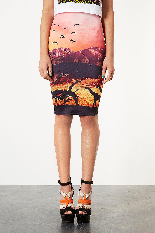 lyst - topshop african safari tube skirt in pink