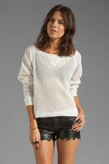 Tylie Cotton Crochet Off The Shoulder Raglan Tee - Lyst
