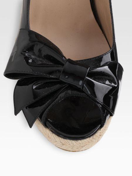 Valentino Mena Patent Leather Espadrille Wedge Sandals In