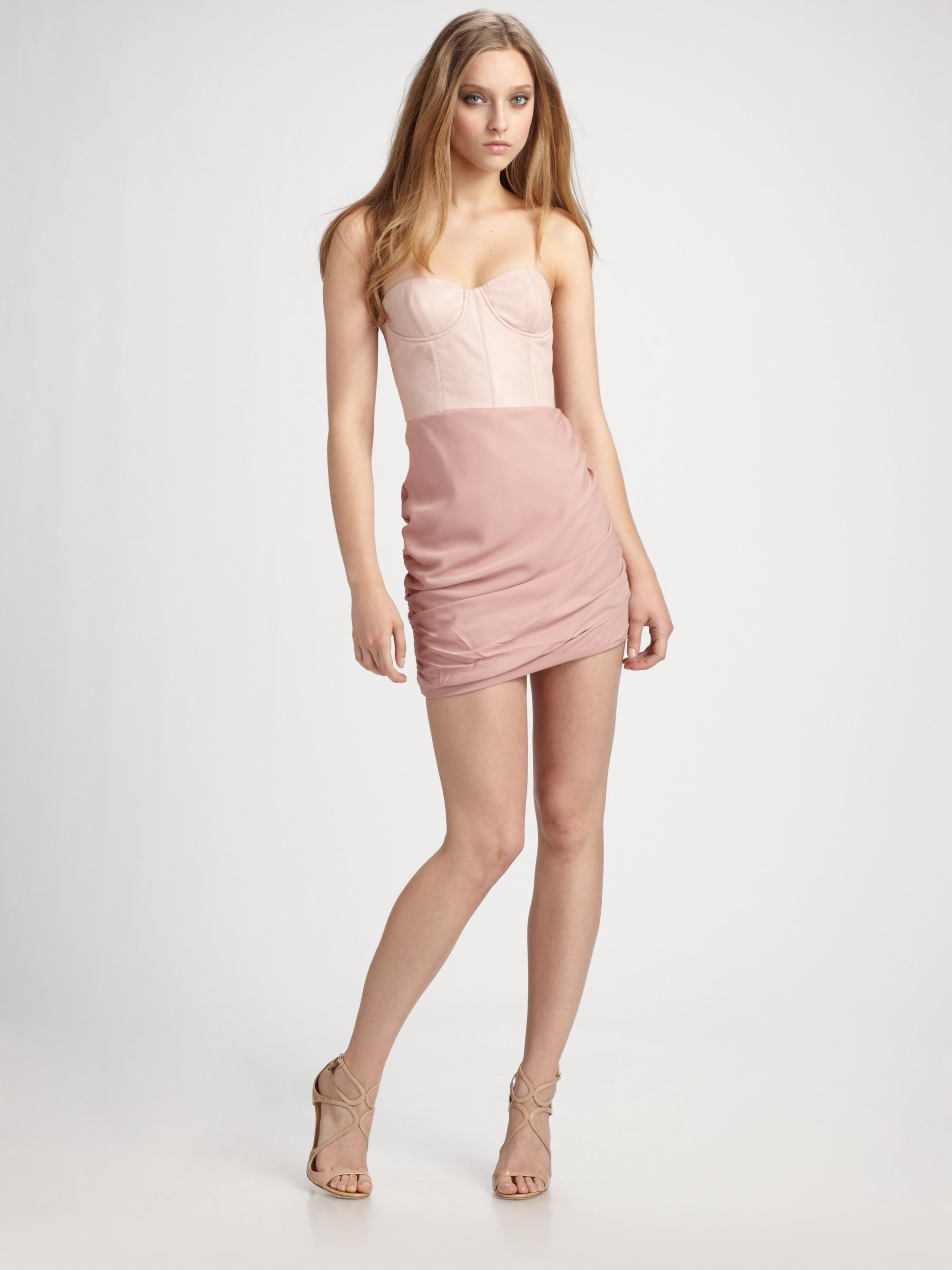 Alice   olivia Mixed Media Bustier Dress in Pink - Lyst