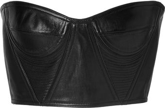Balmain Leather Cropped Underwire Bustier in Black - Lyst