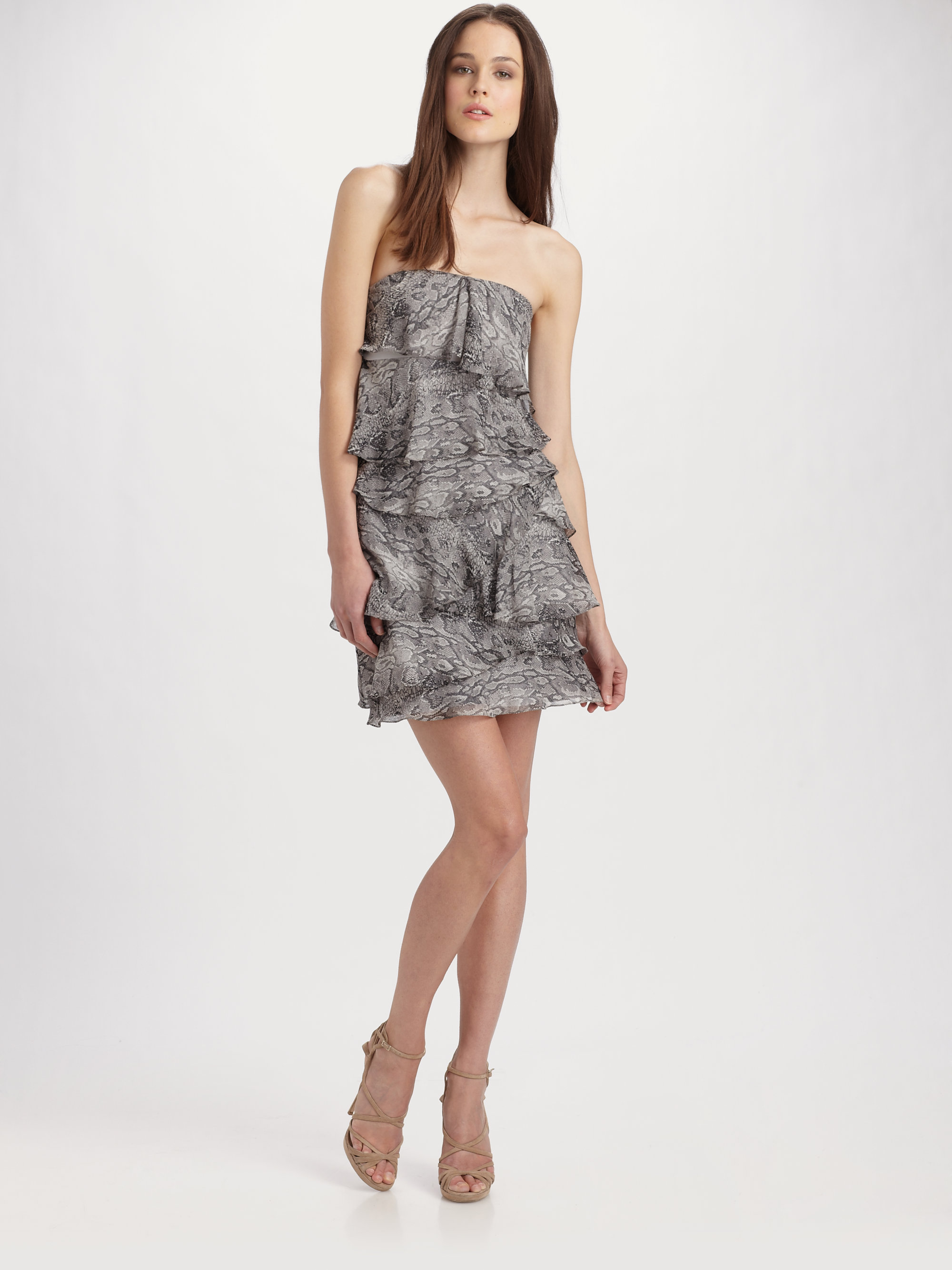 Bcbgmaxazria Printed Strapless Dress in Gray | Lyst