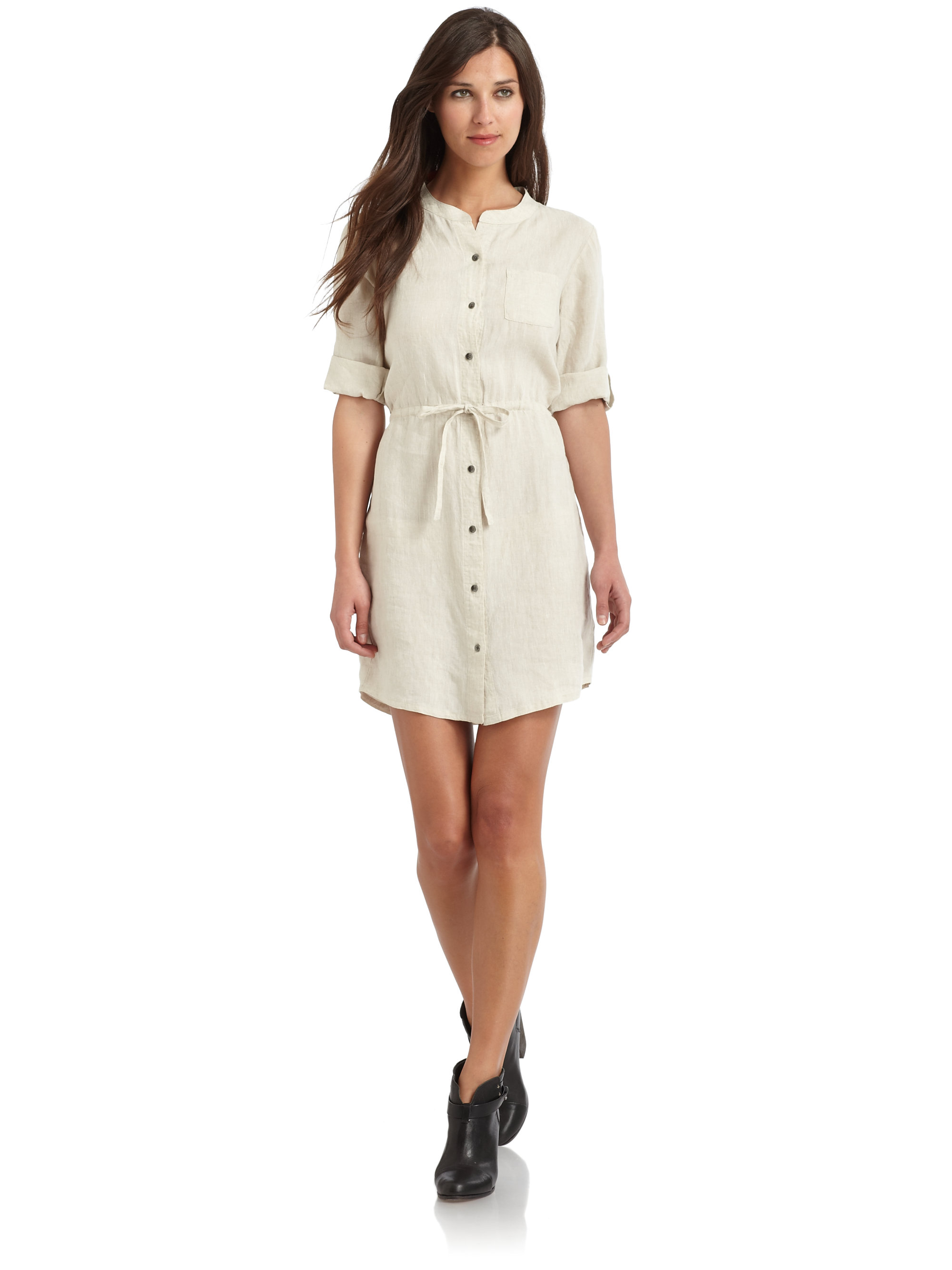 Lyst Blue Saks Fifth Avenue Linen Shirt Dress In White