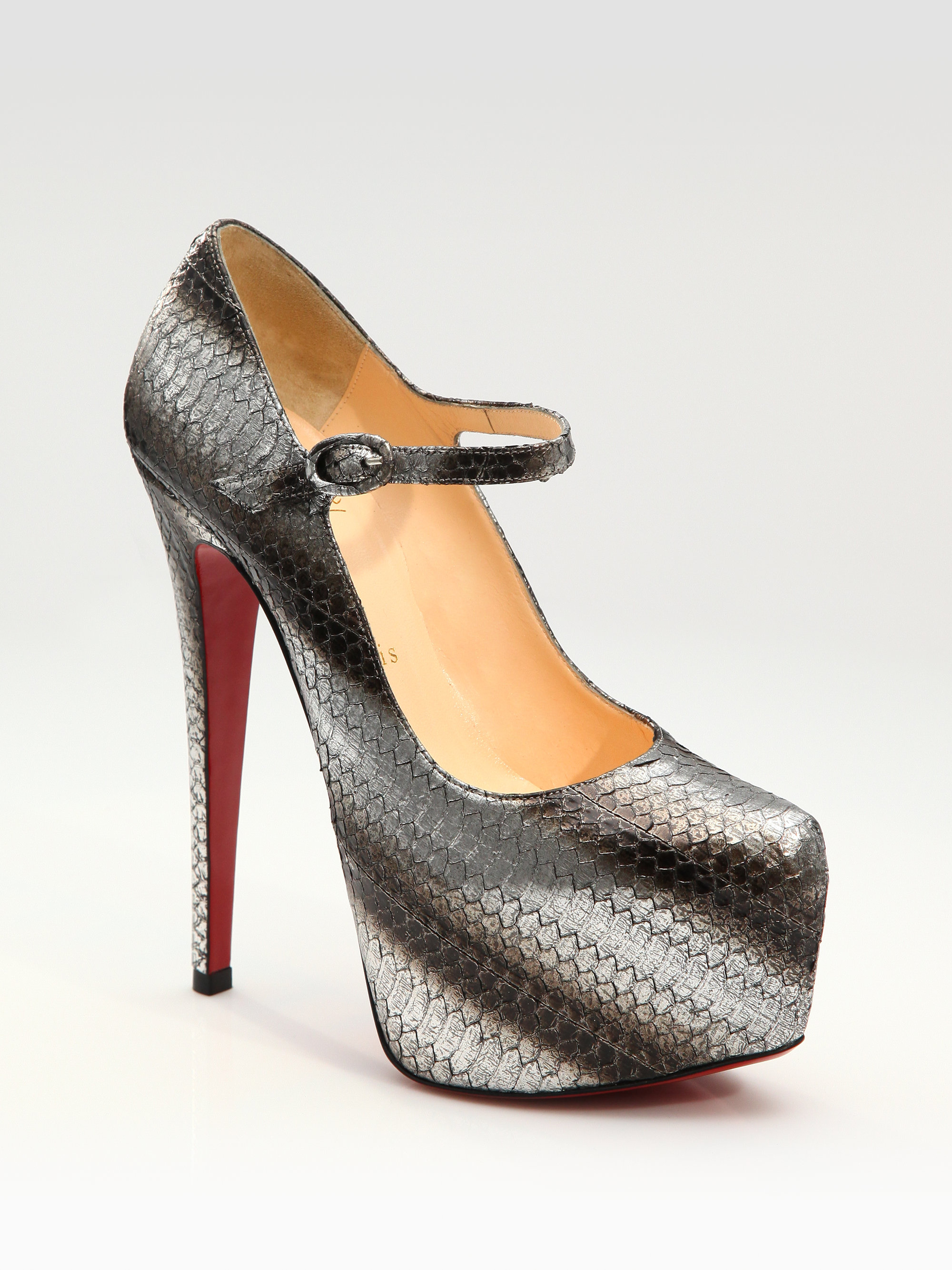 christian louboutin peep-toe pumps Silver metallic snakeskin | The ...