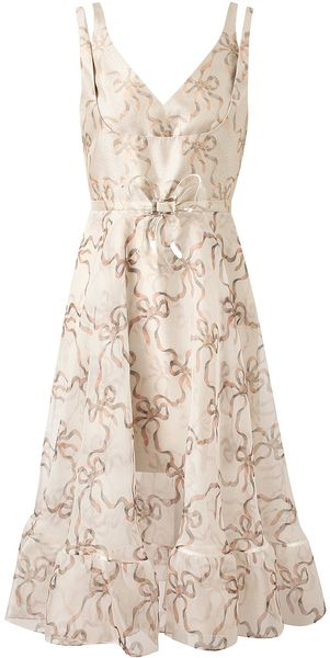 Christopher Kane Bow Patterned Silk Dress - Lyst