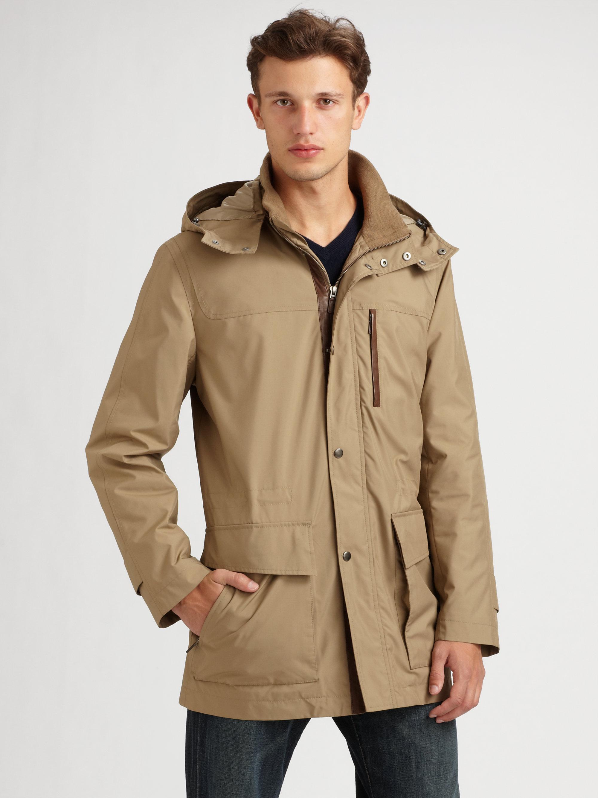 Cole haan Nylon Duffle Coat in Brown for Men | Lyst
