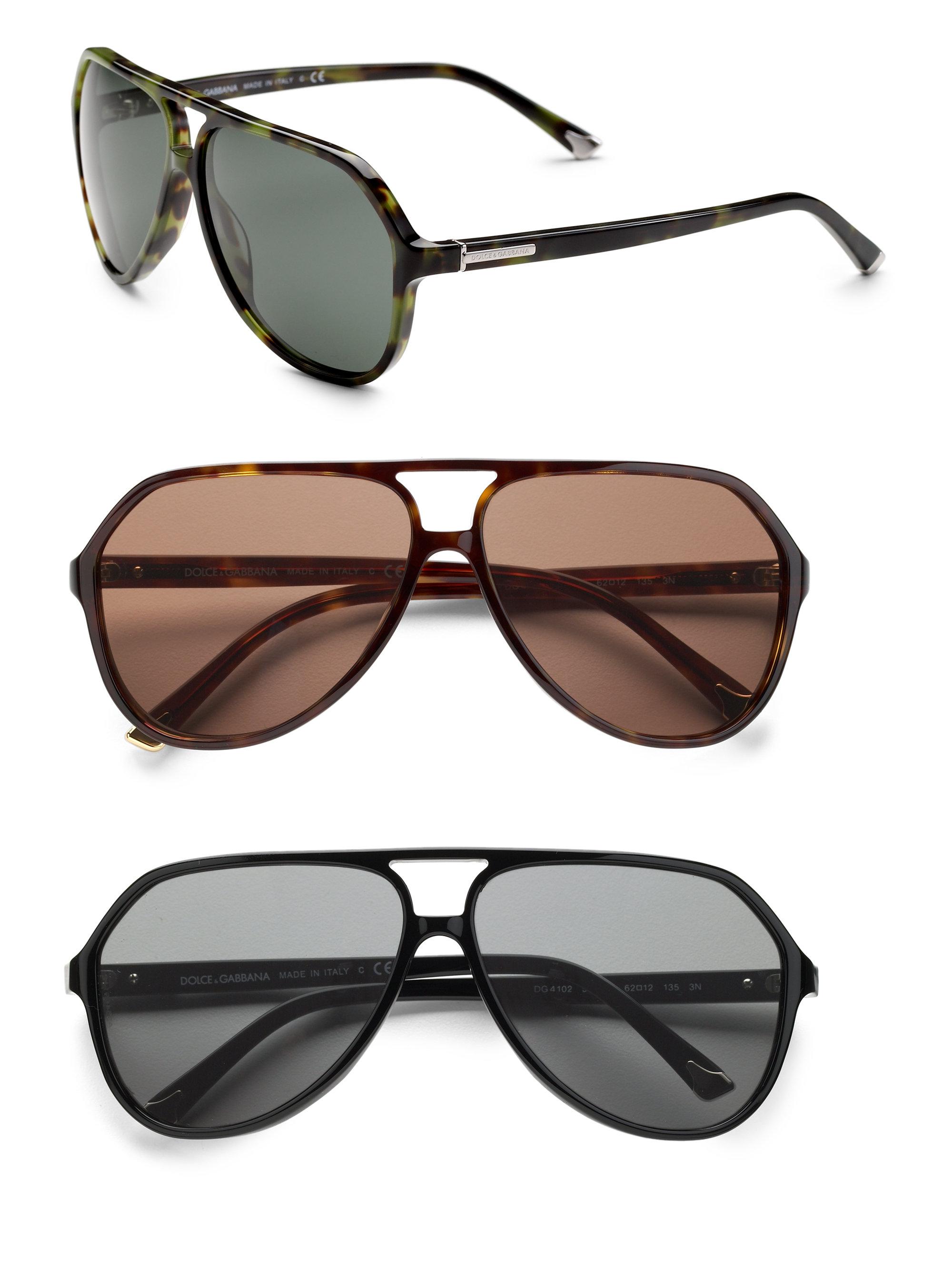 f7960949038 Lyst - Dolce   Gabbana Acetate Aviator Sunglasses in Black for Men