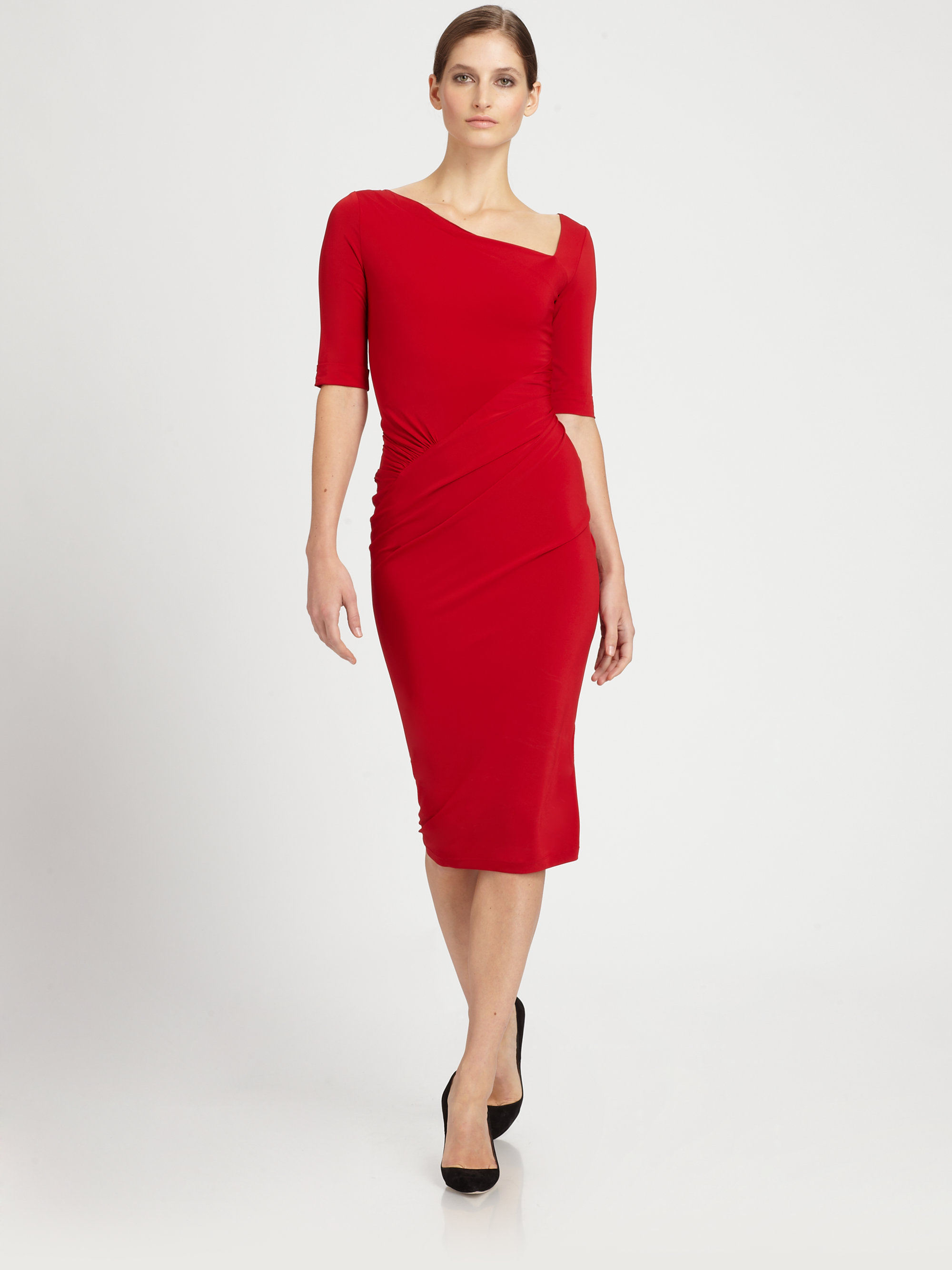 Donna karan Superfine Jersey Dress in Red | Lyst
