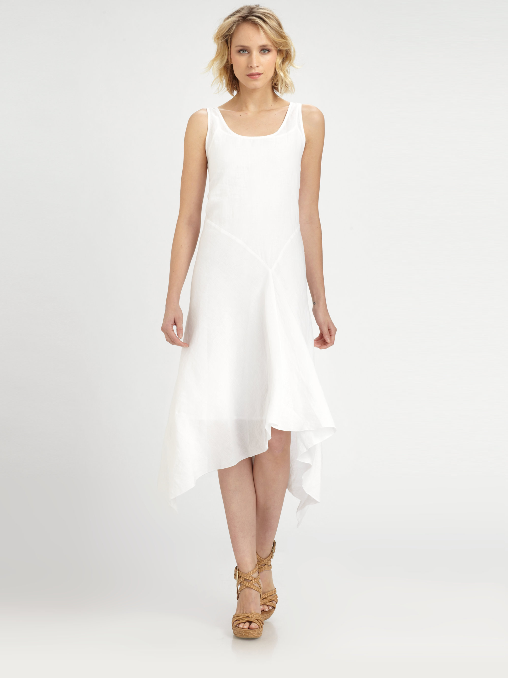 Eileen fisher Irish Linen Sleeveless Dress in White | Lyst
