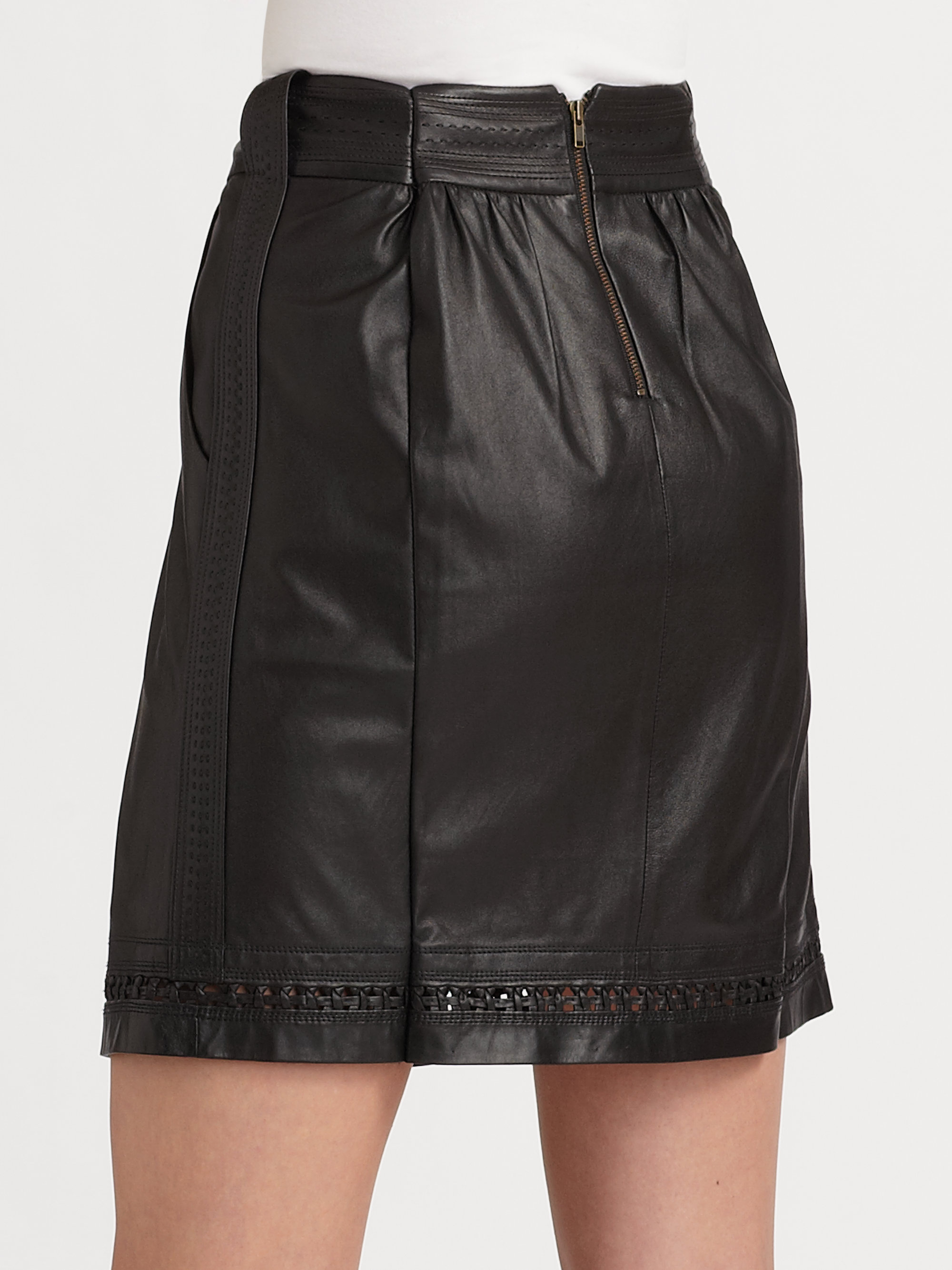elie tahari leather aline skirt in black lyst