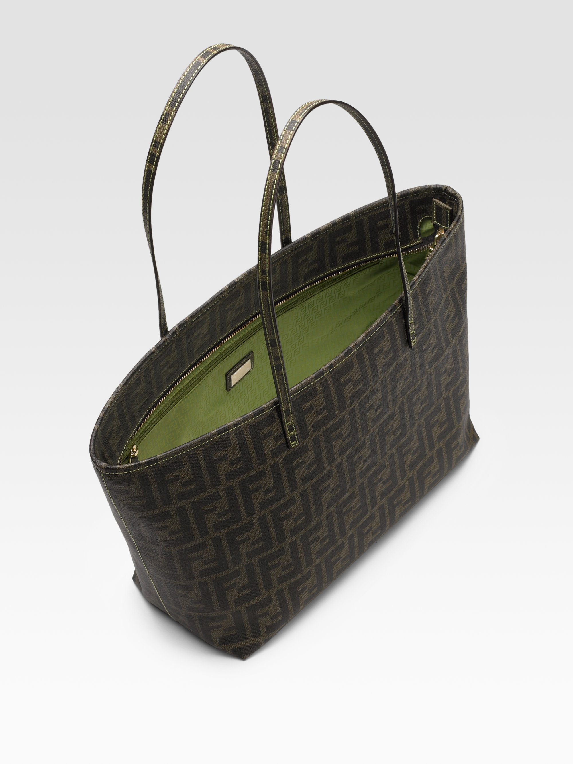 e4f65c7e8e ... good fendi small zucca shopping roll tote in green tobacco lyst a7689  9b6d6