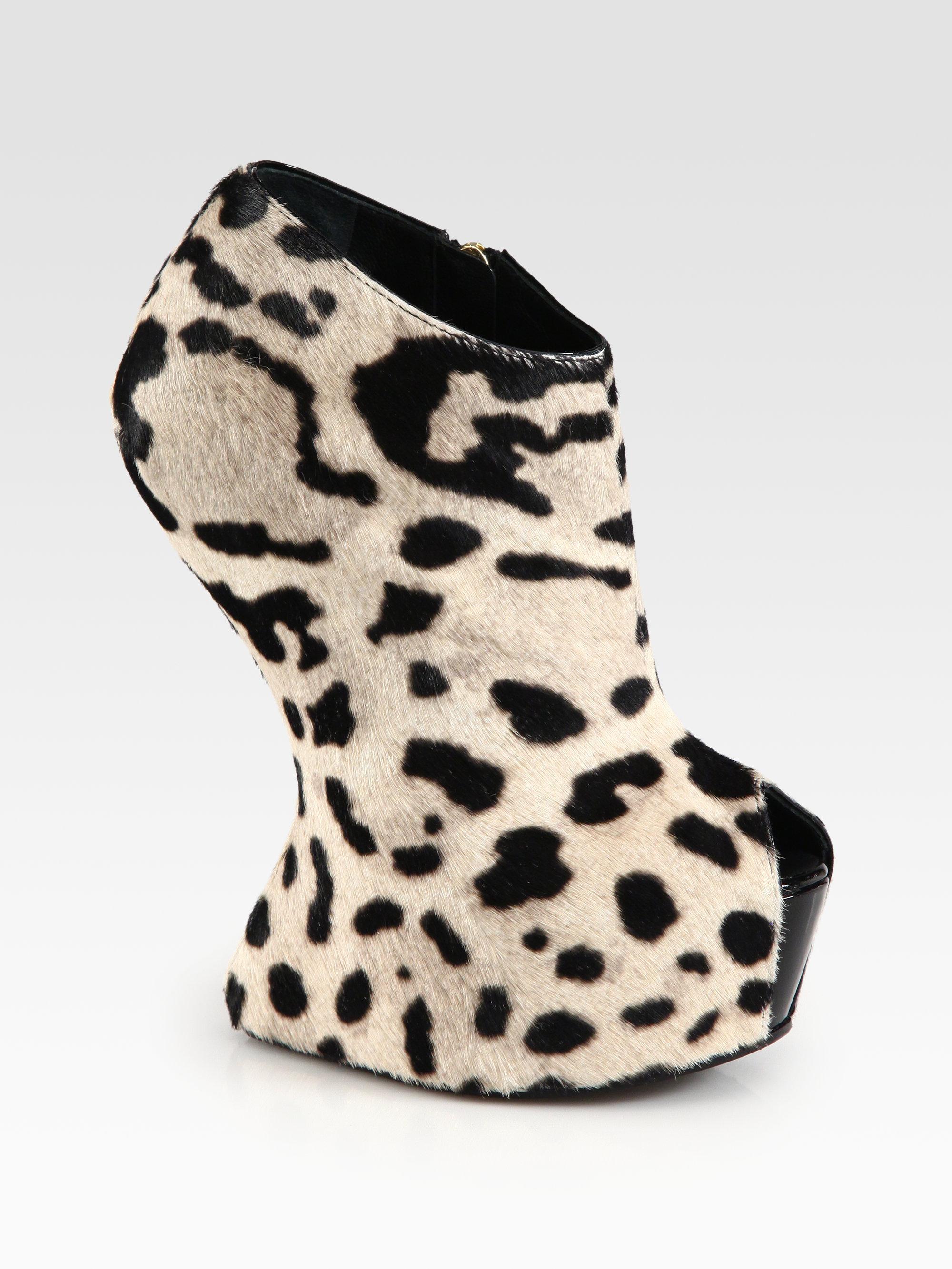 93665e2640a70 Giuseppe Zanotti Leopard Print Calf Hair Wedge Ankle Boots in ...