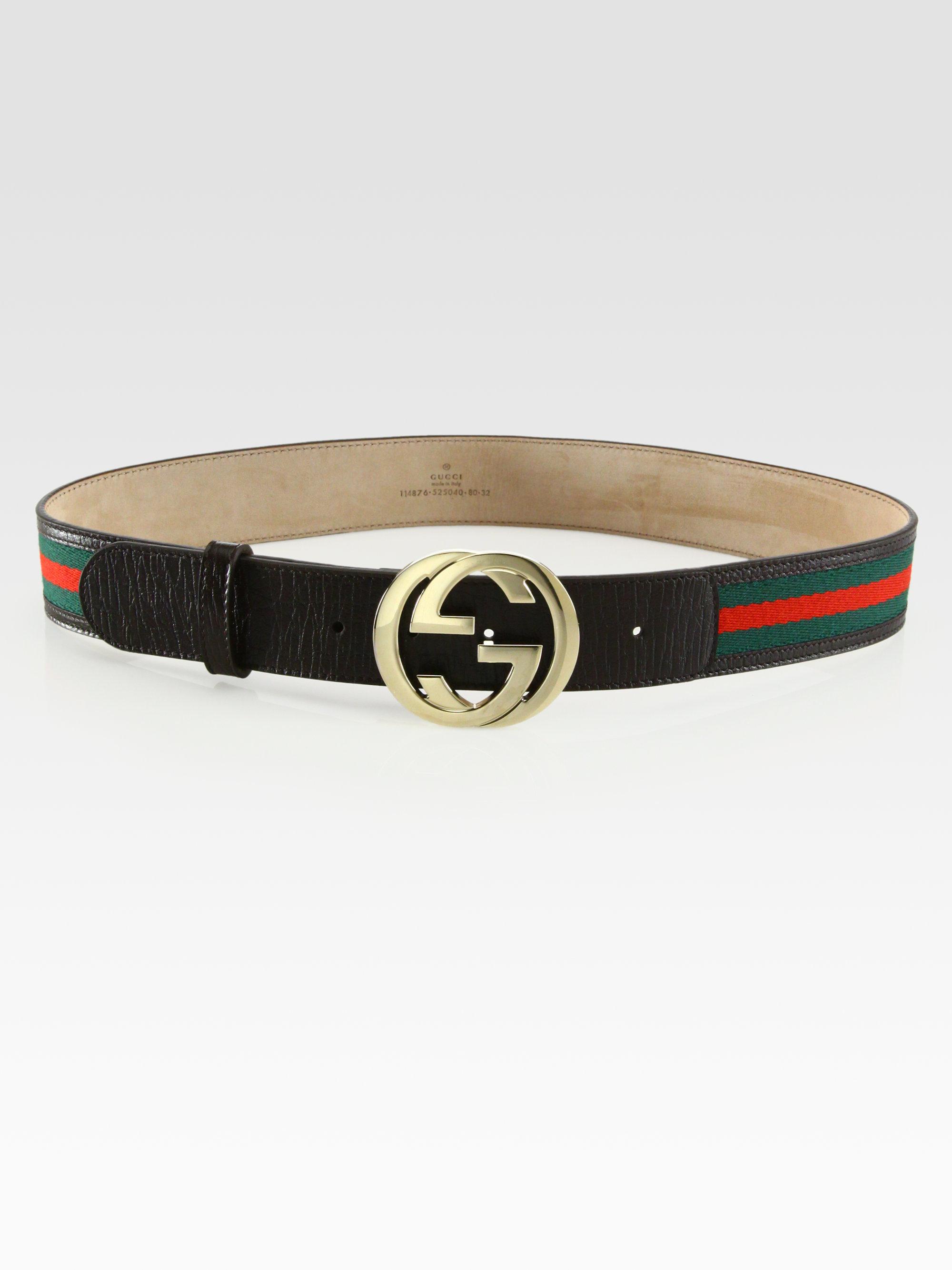 lyst gucci signature web interlocking gg buckle belt in
