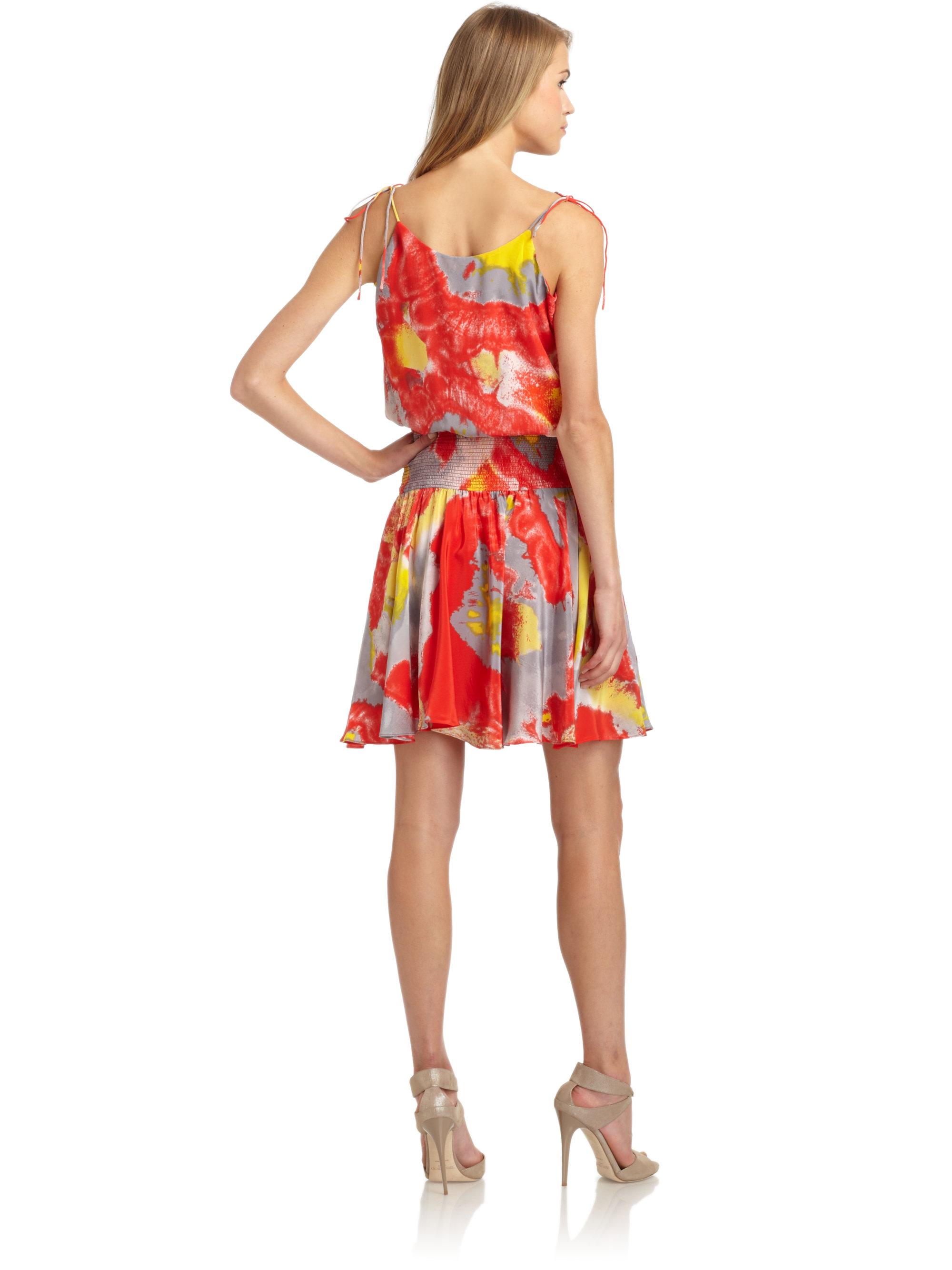 Lyst Halston Silk Chiffon Floral Smock Waist Dress