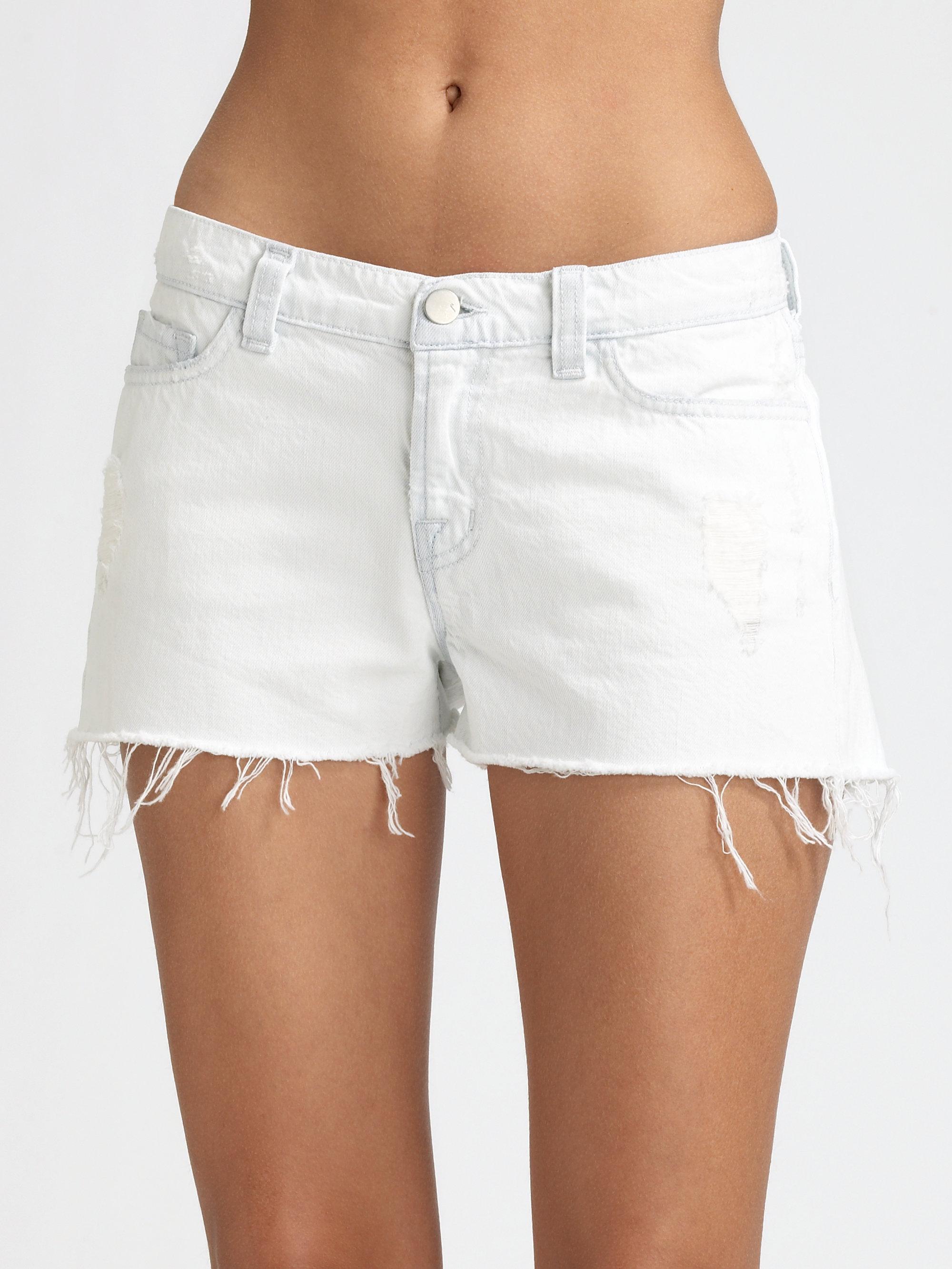 J brand Cutoff Denim Shorts in White | Lyst