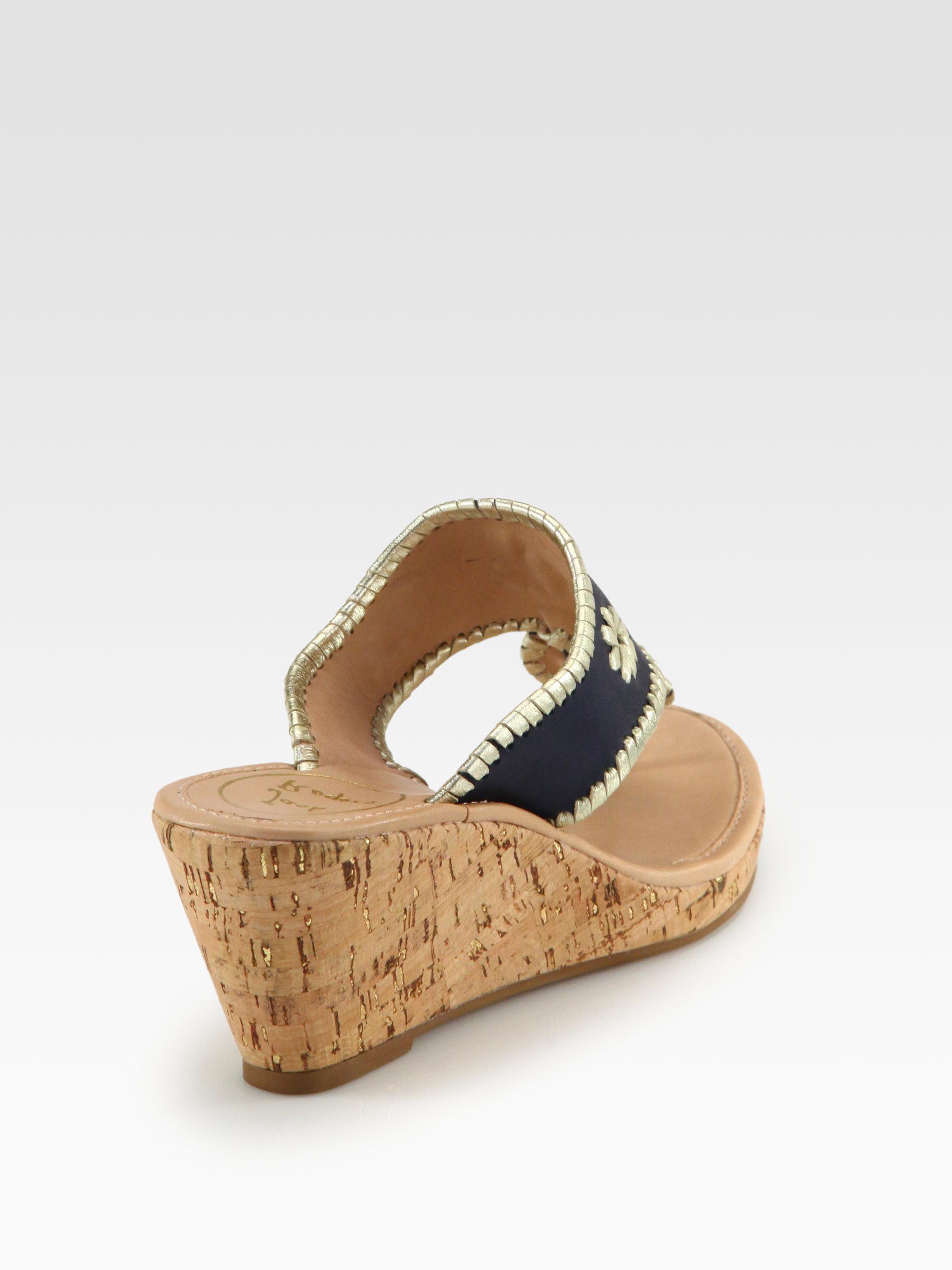 cdd9974bc10 Jack Rogers Marbella Metallic Leather Cork Wedge Sandals in Black - Lyst