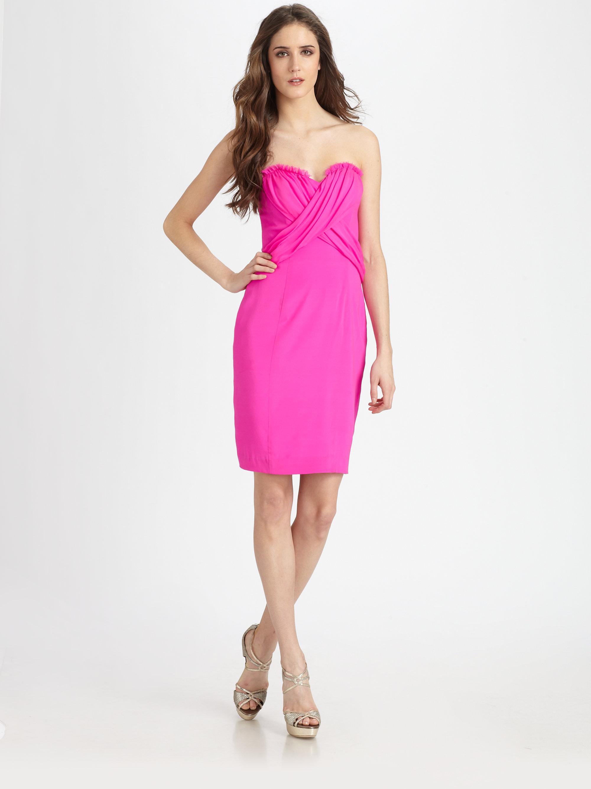 Jay godfrey Silk Strapless Dress in Pink | Lyst