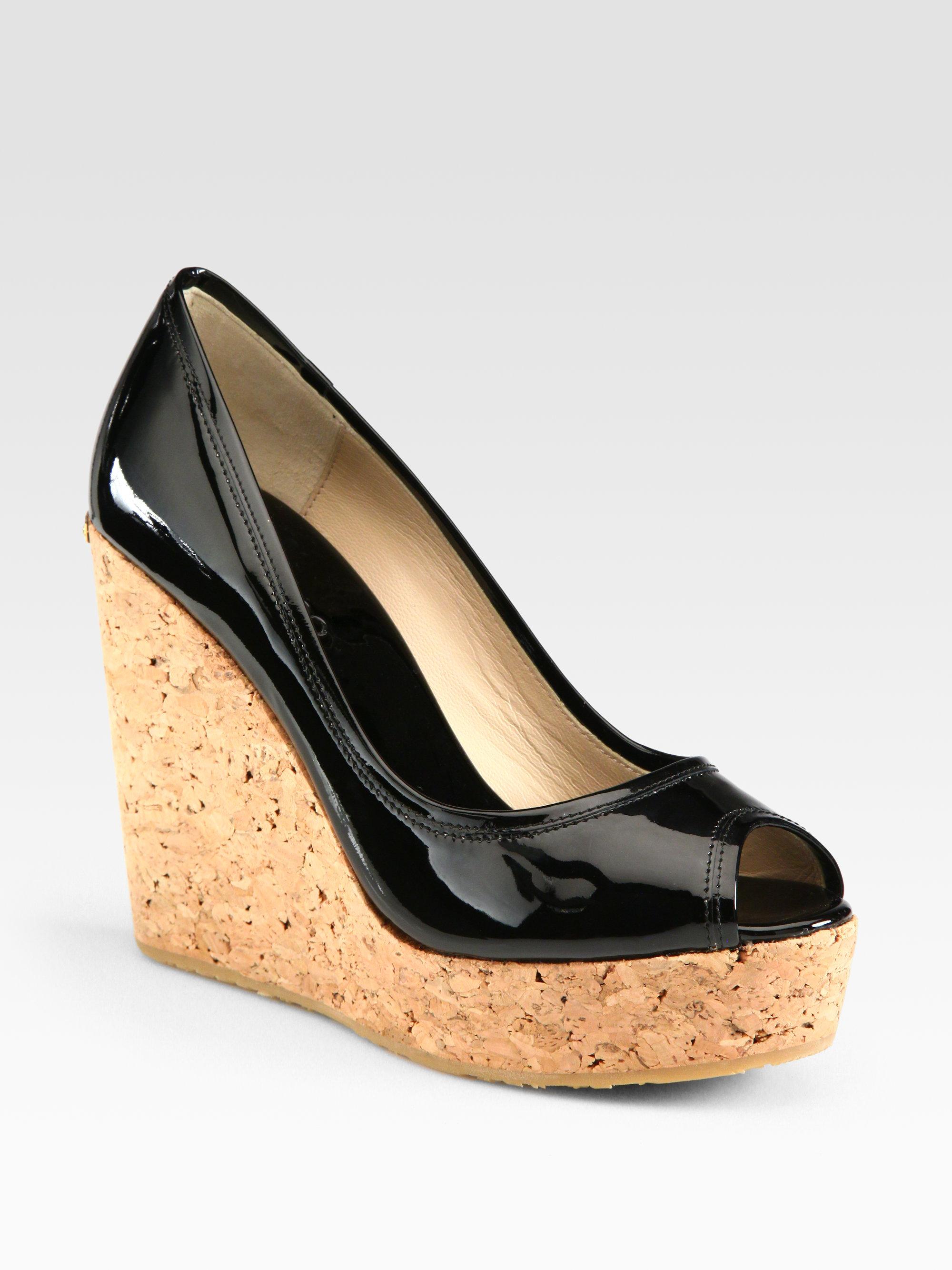 0c3d408da73 ... sale lyst jimmy choo papina patent leather wedge sandals in black 63f3d  ac35b