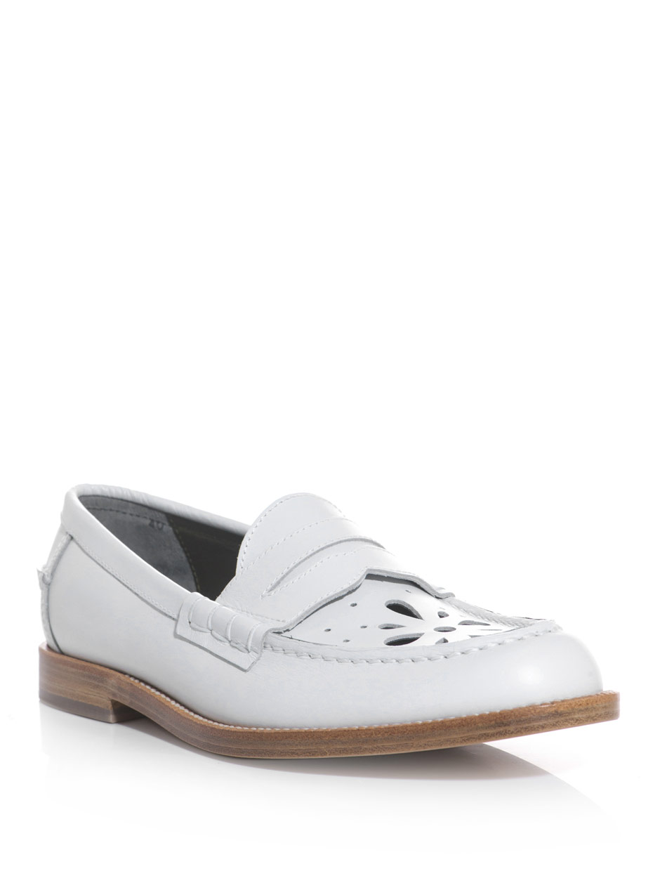 White Lace Up Laser Cut Leather Shoes Loafer