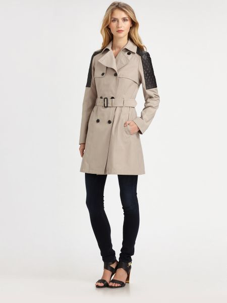 Mackage Lilith Leathertrim Trench Coat In Beige Sand Lyst