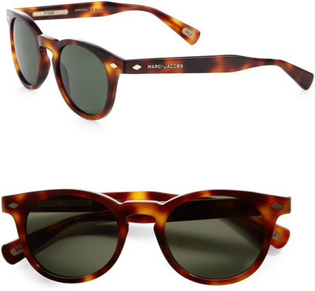 Marc Jacobs Preppy Round Plastic Sunglasses in Brown (havana) - Lyst