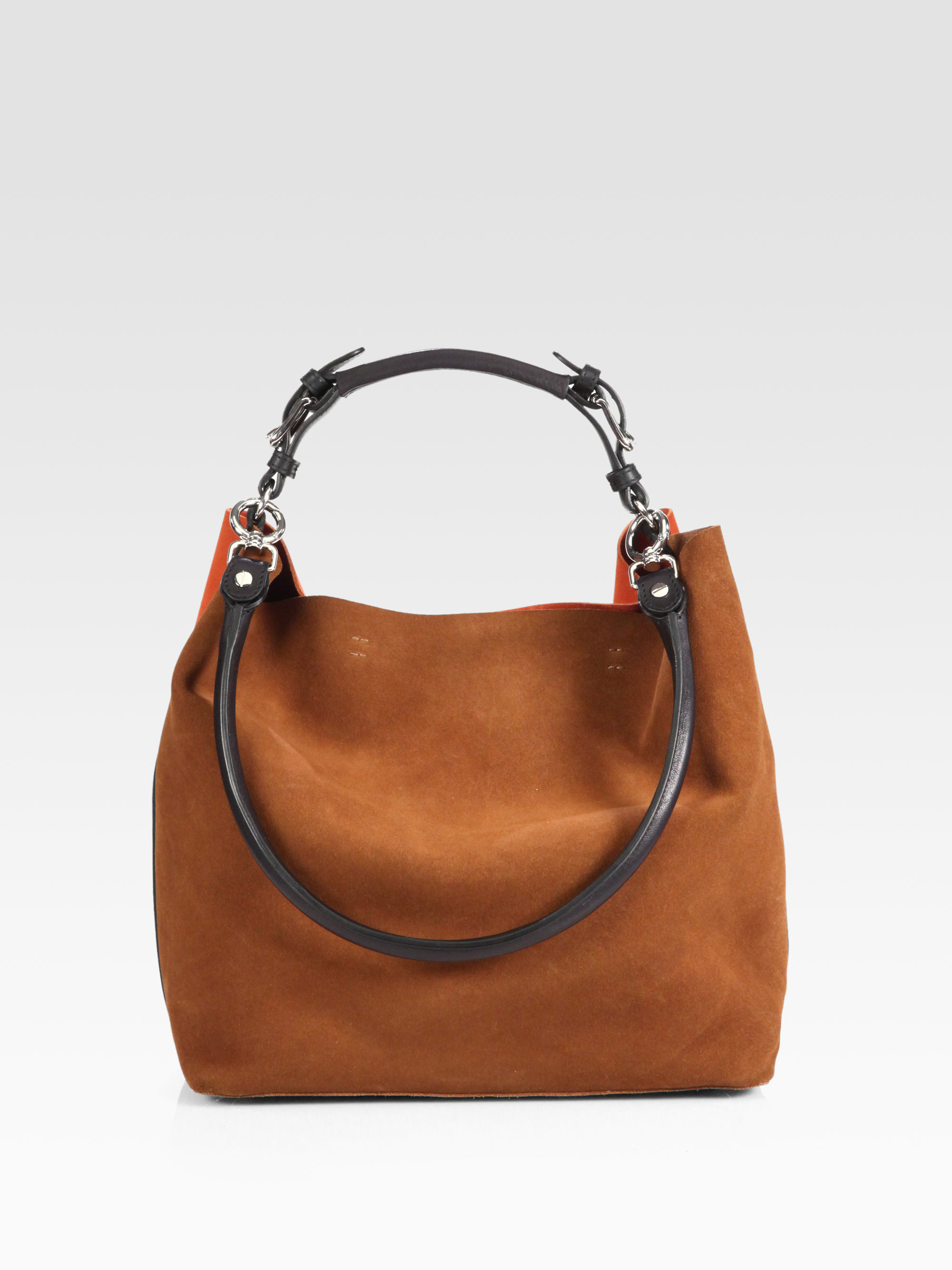 Marni Bicolor Suede Shoulder Bag in Brown | Lyst